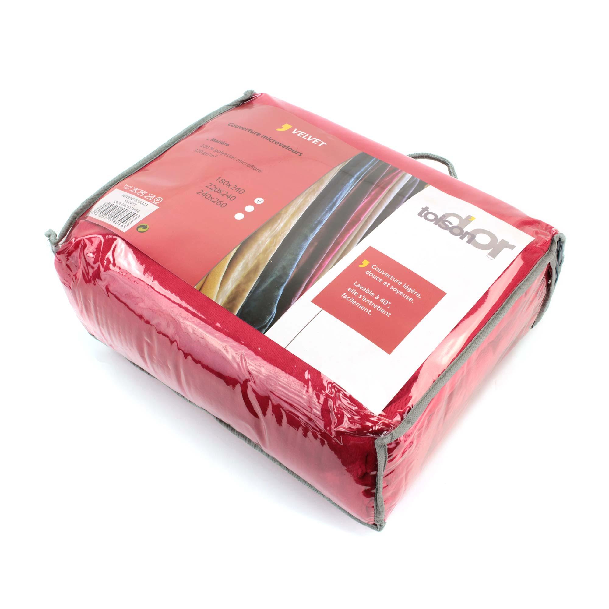 Couverture-polaire-240x260-Microfibre-VELVET-Rouge