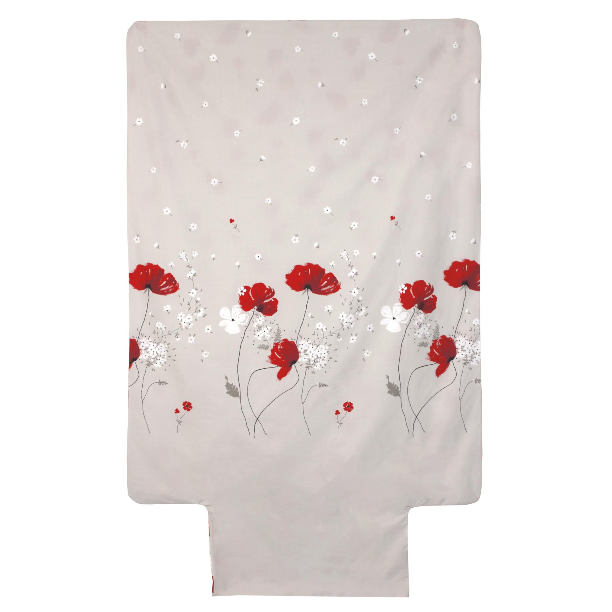 Housse de couette 140x200 Percale pur coton CYBELE FLOWERS Ecru