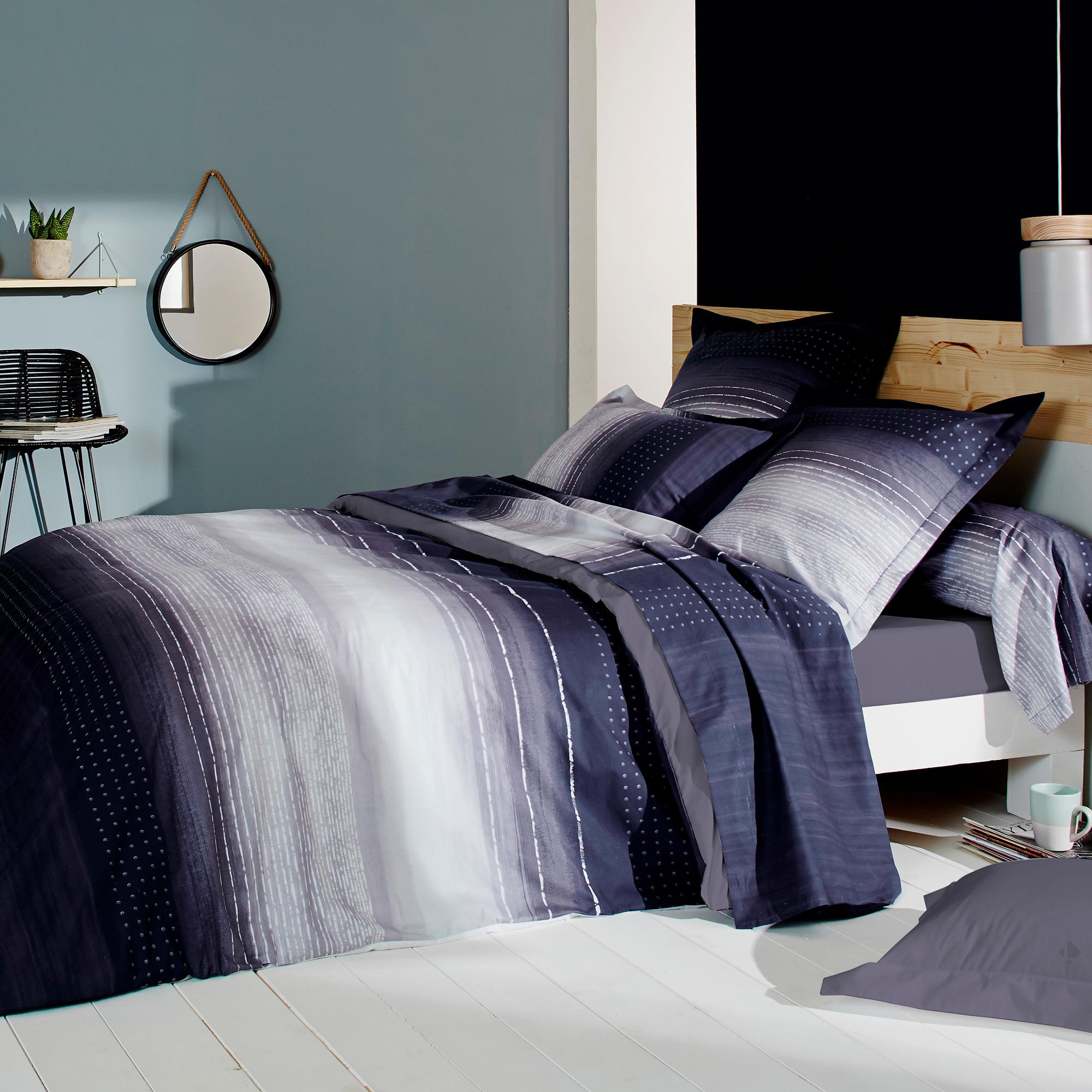 Parure-de-lit-260x240-Percale-pur-coton-JAZZ-Bleu-3-pieces