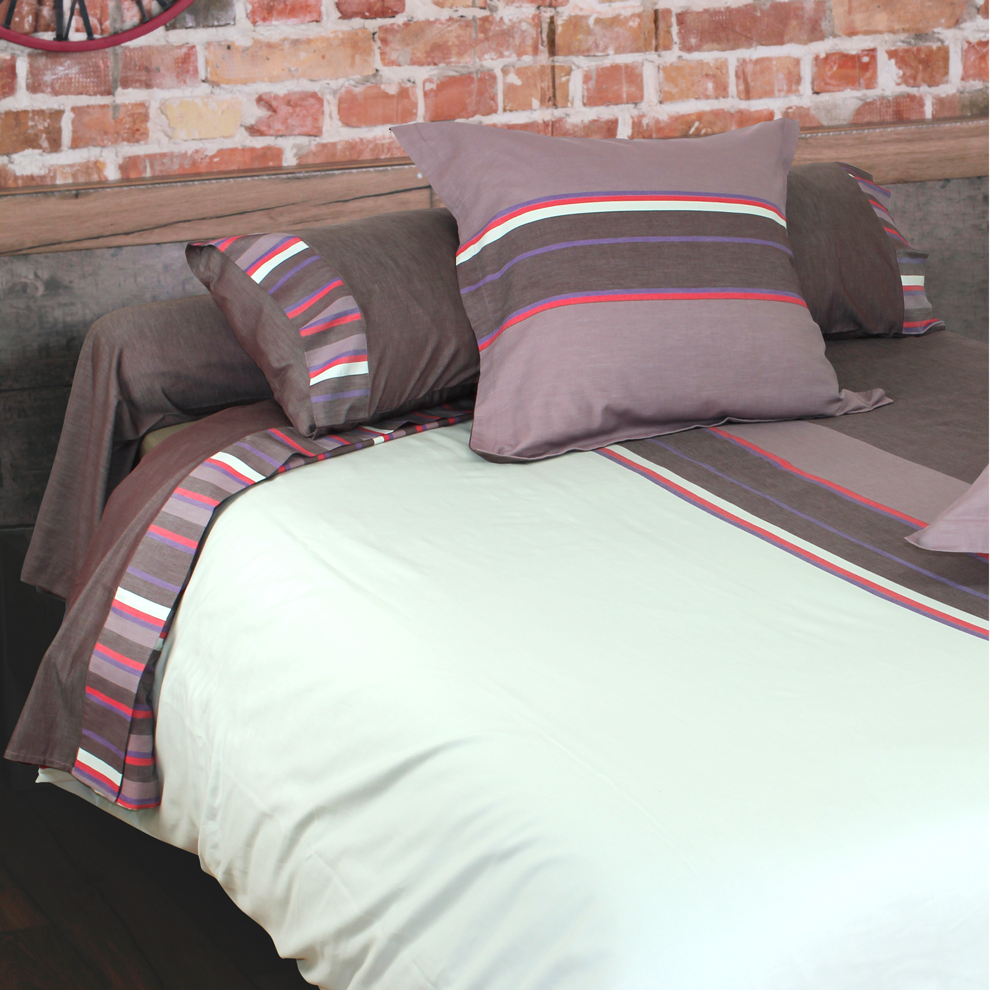 parure de lit 240x220 percale de coton madeleine ebay. Black Bedroom Furniture Sets. Home Design Ideas