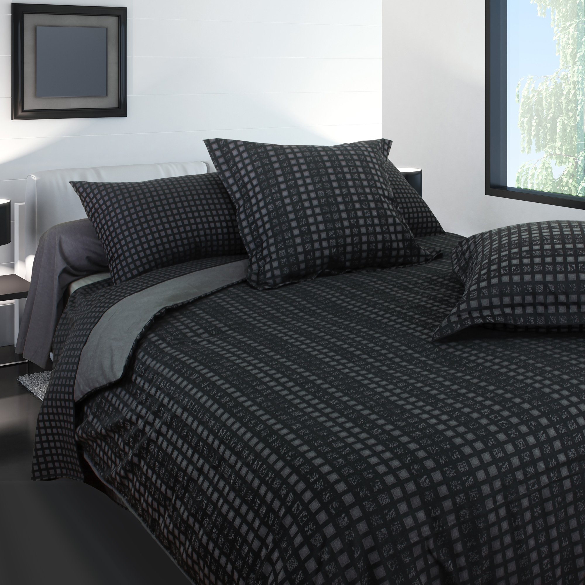 parure de lit 260x240 satin de coton trocadero gris anthracite ebay. Black Bedroom Furniture Sets. Home Design Ideas