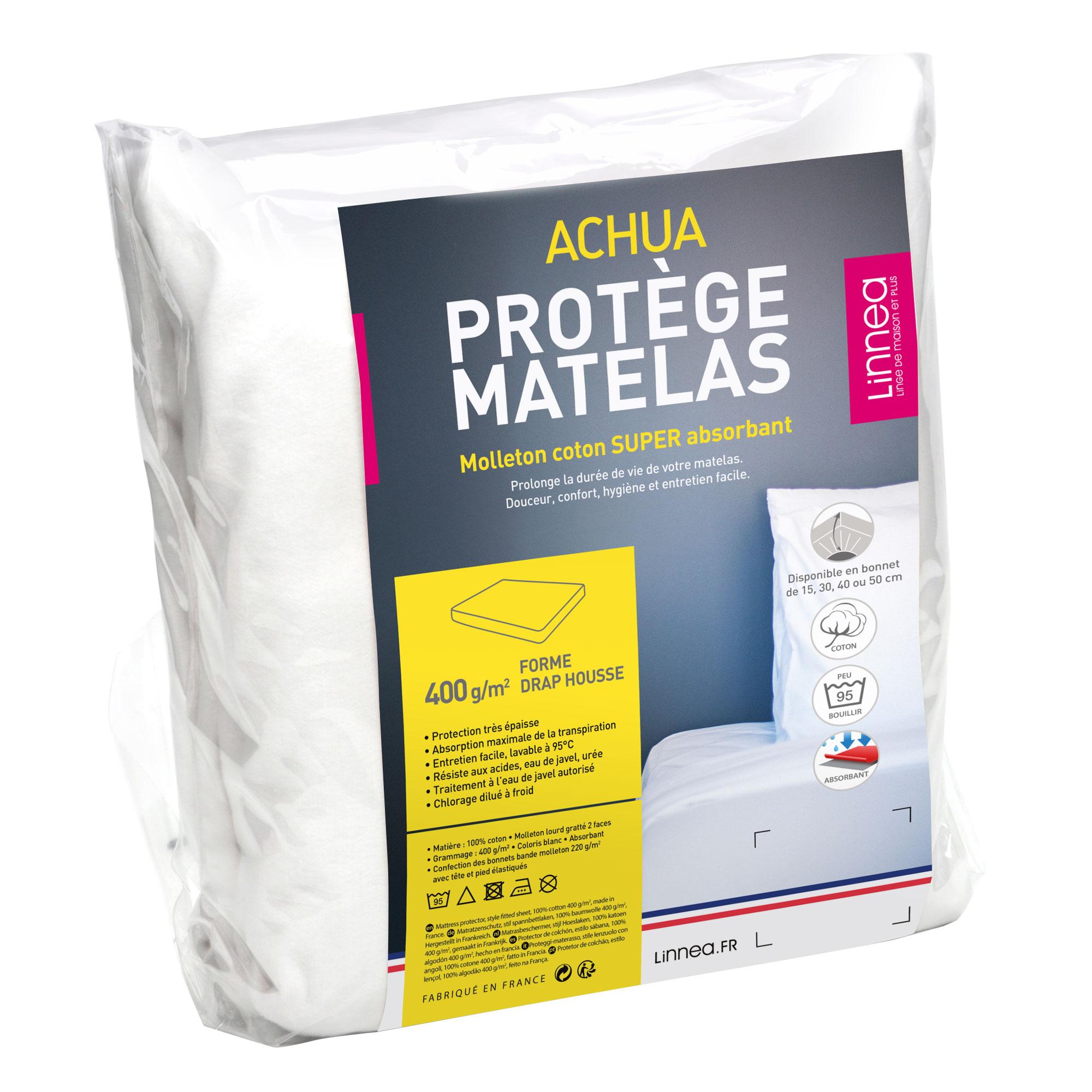 linge de lit pour matelas 180x200 Protège matelas 180x200 ACHUA Molleton 100% coton 400g/m2 bon linge de lit pour matelas 180x200