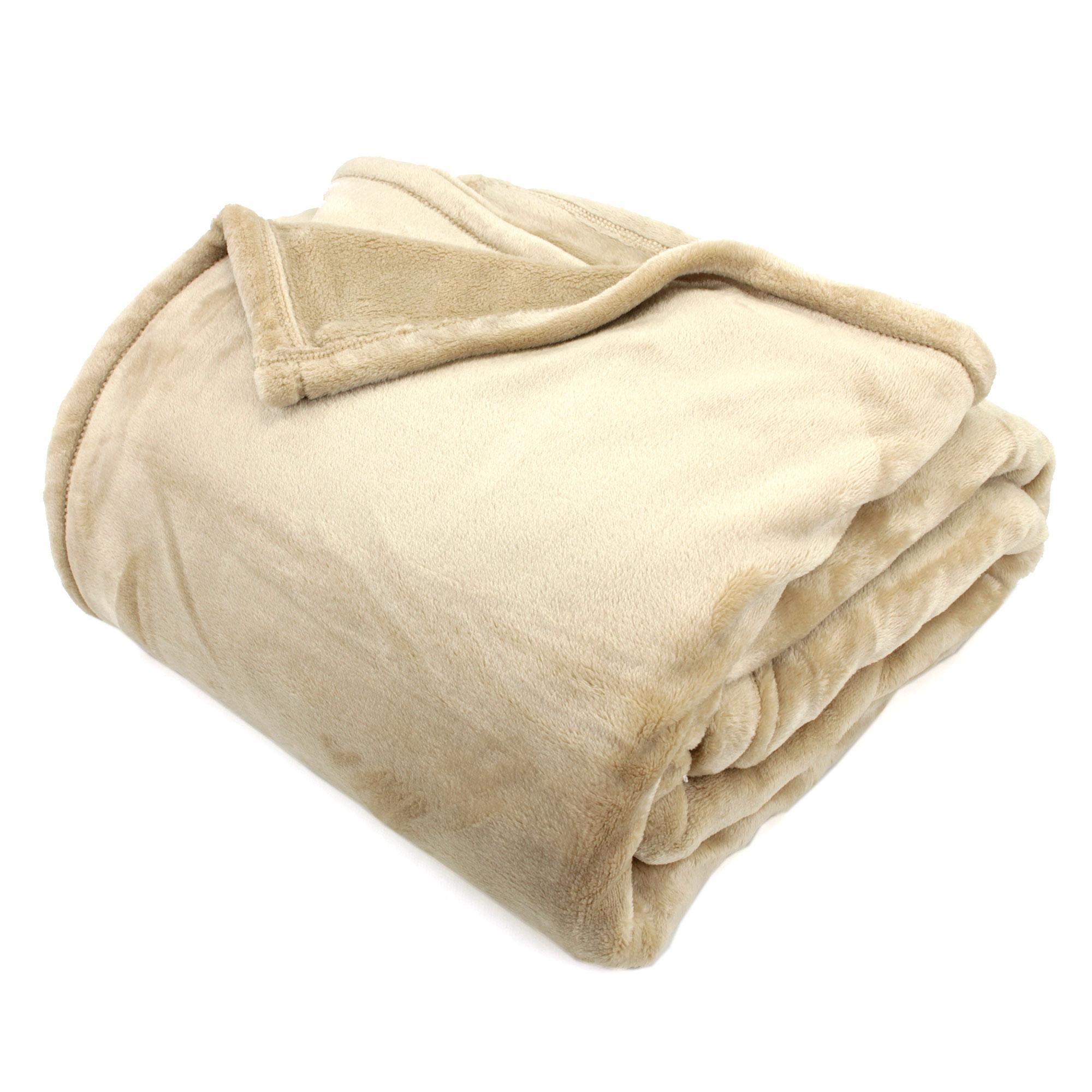couverture microfibre 220x240 cm velvet beige linnea. Black Bedroom Furniture Sets. Home Design Ideas