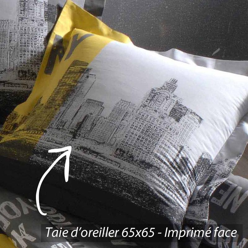 taie d'oreiller 65x65 cm new york | linnea vente de linge de maison