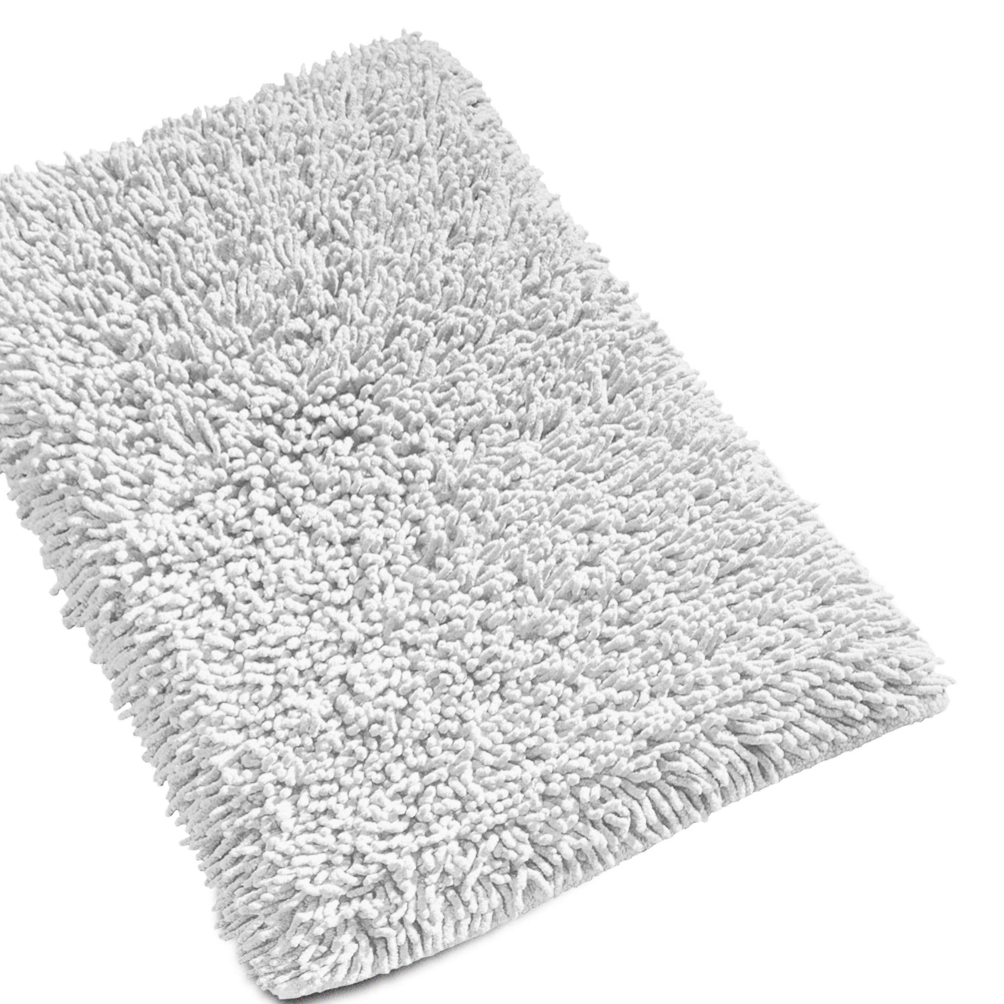 tapis de bain 50x80 cm chenille blanc 1800 g m2