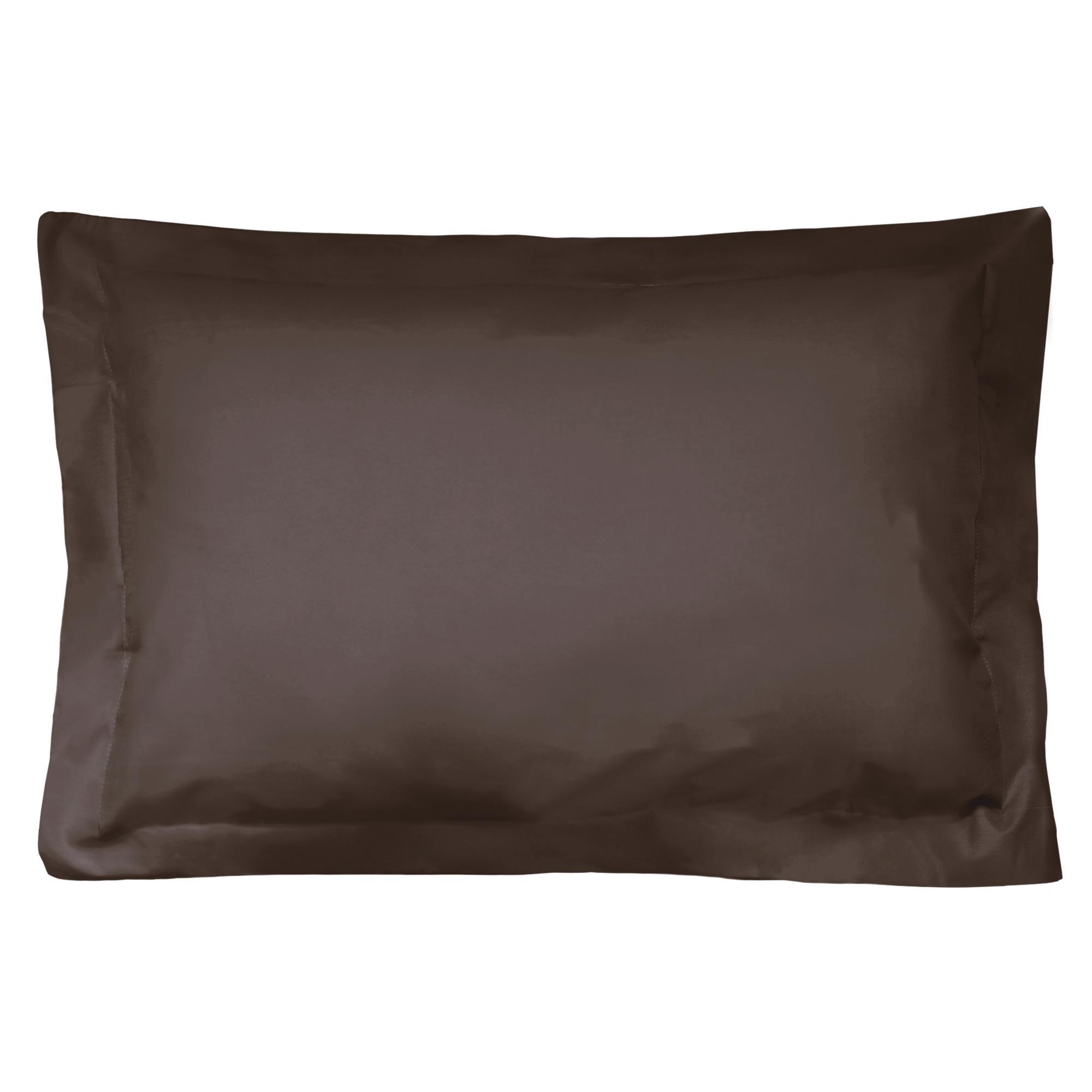 taie d 39 oreiller 80x50cm uni pur coton alto marron mangan se linnea linge de maison et. Black Bedroom Furniture Sets. Home Design Ideas