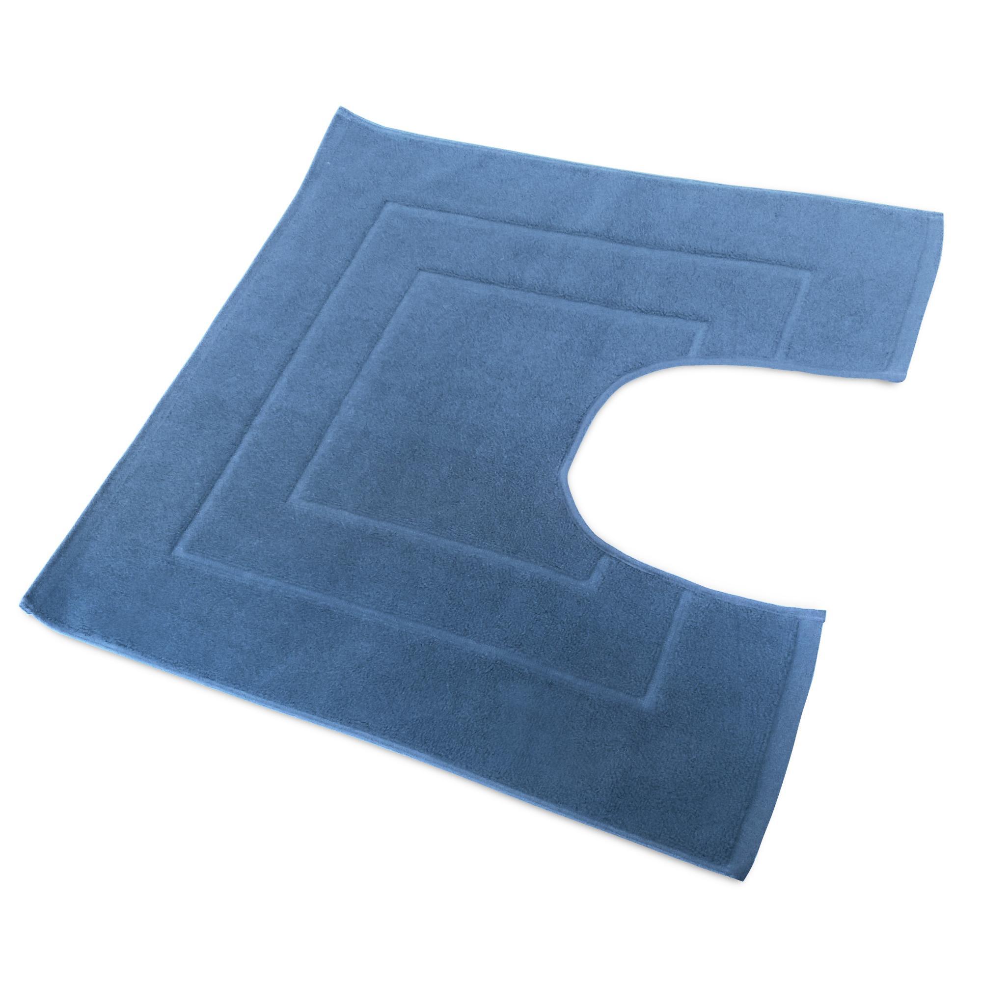 Tapis De Bain Contour Wc 60x60cm Uni Coton Flair Bleu Moyen Linnea