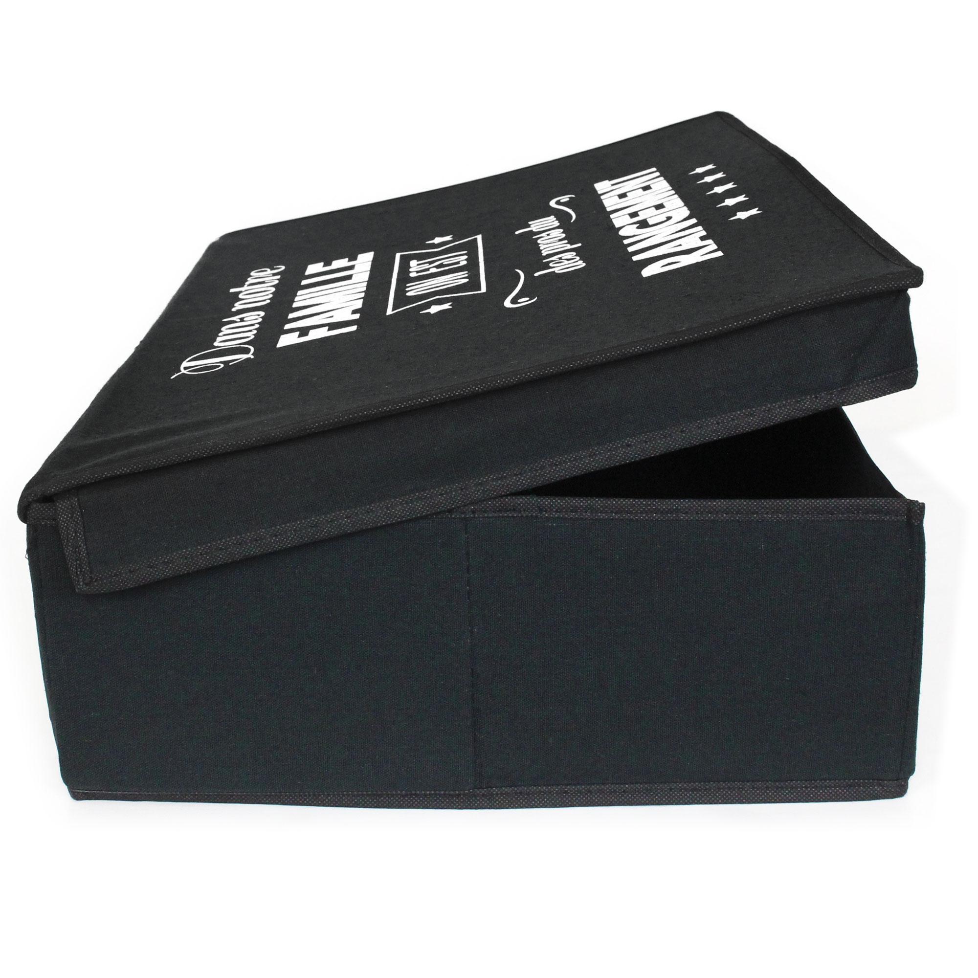 boite de rangement en carton avec rev tement non tiss 25l noir linnea linge de maison et. Black Bedroom Furniture Sets. Home Design Ideas