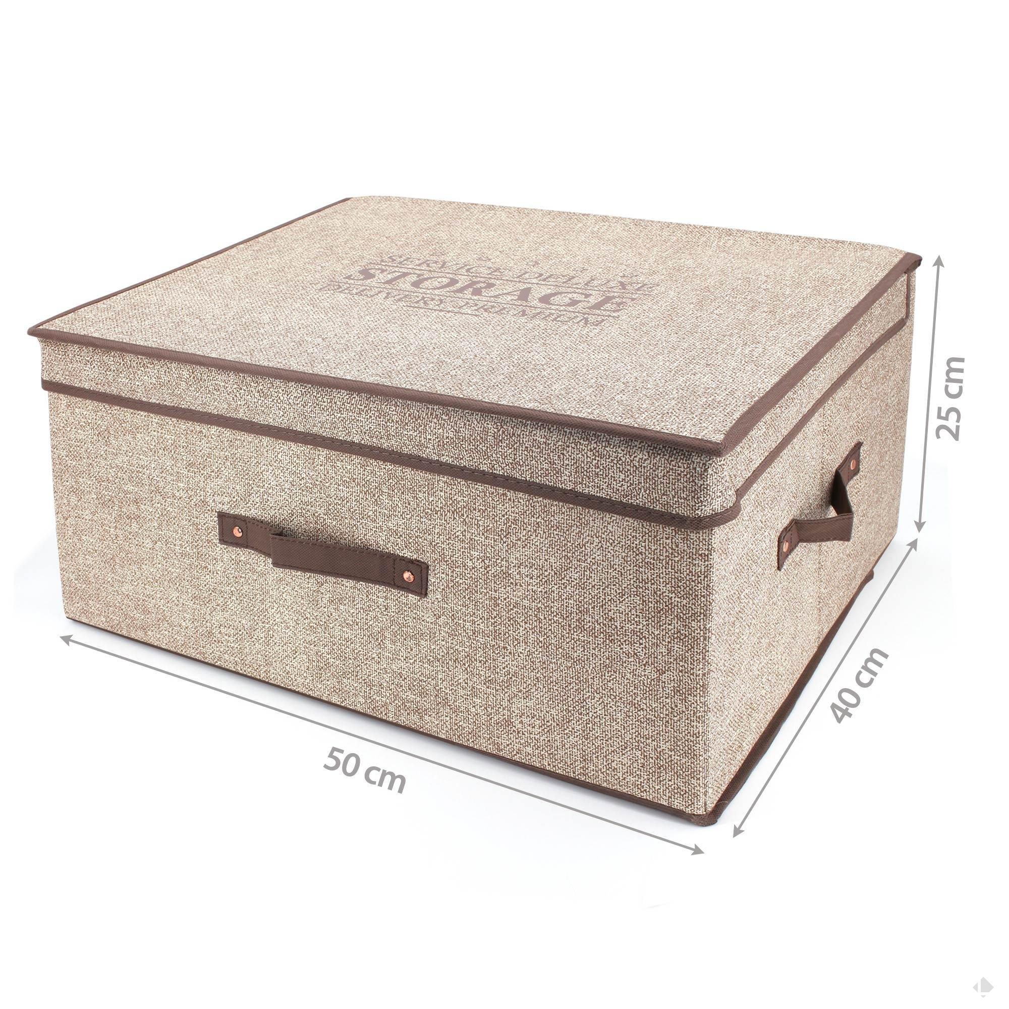 Boite de rangement DELUXE en carton avec revêtement non tissé 50L marron   Linnea, linge de ...