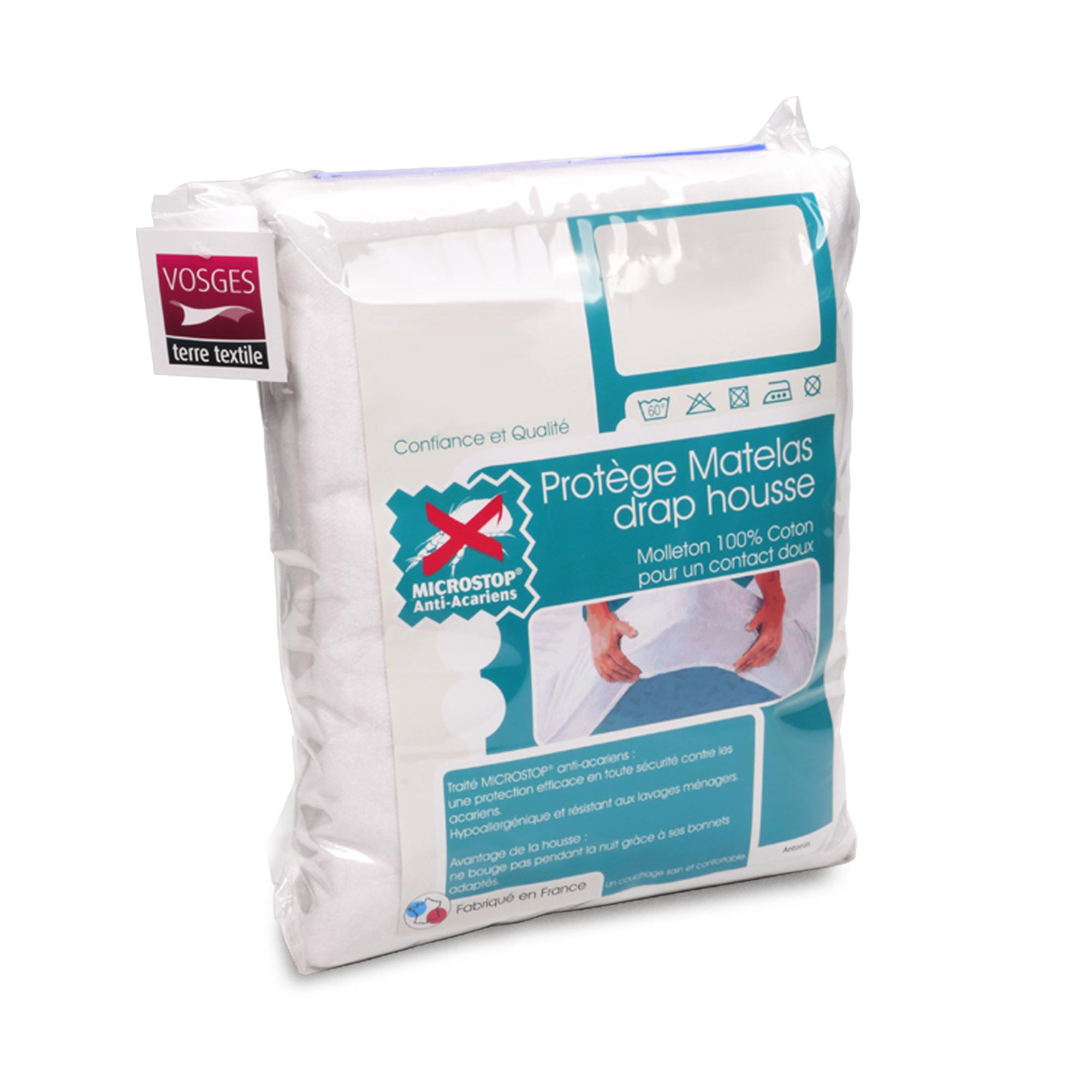 drap housse anti acariens efficace Protège matelas 70x190 cm ANTONIN   Molleton absorbant, traité  drap housse anti acariens efficace