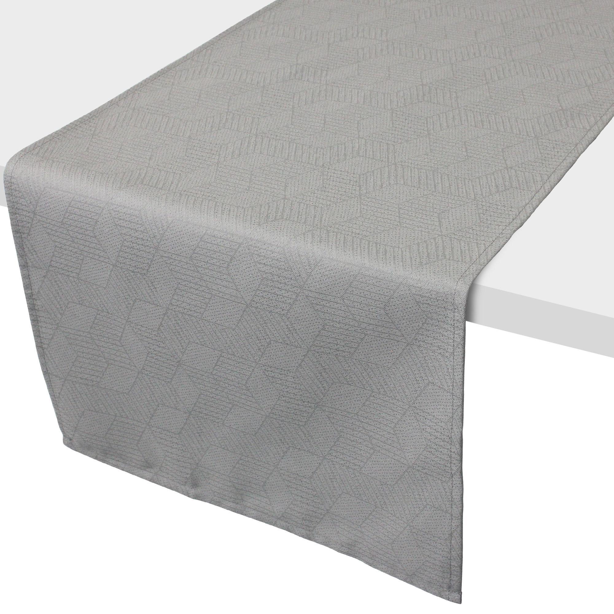 Chemin de table 45x150 cm jacquard 100 coton cube gris perle linnea linge de maison et - Chemin de table gris perle ...