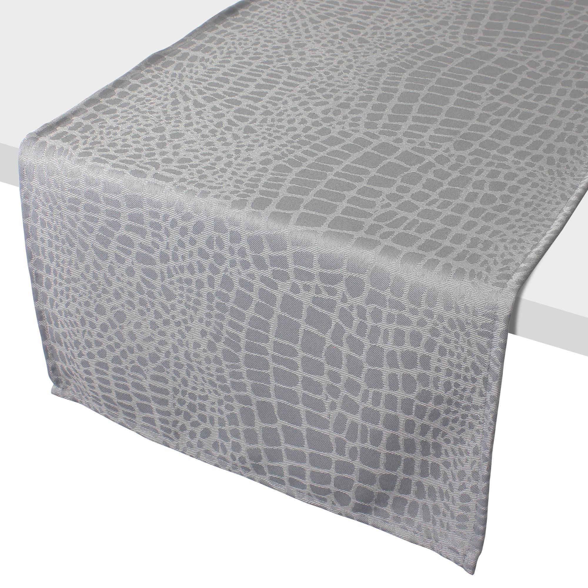 Chemin de table 45x150 cm jacquard 100 polyester lounge perle linnea linge de maison et - Chemin de table gris perle ...