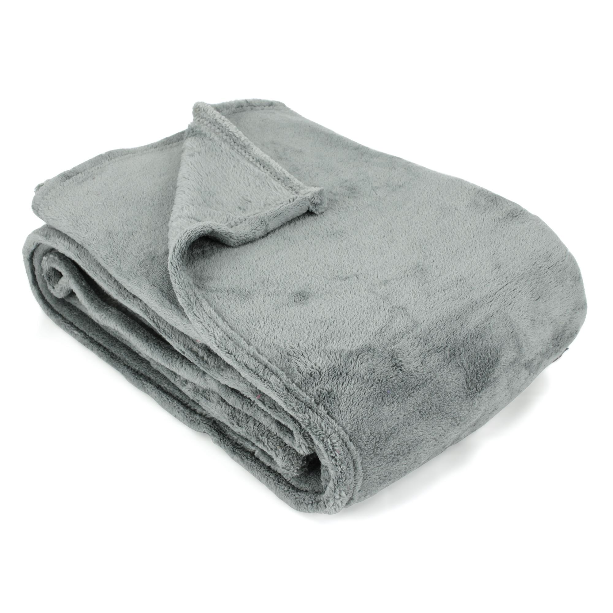 couverture polaire 220x240 microfibre 280g m2 apollo gris argent ebay. Black Bedroom Furniture Sets. Home Design Ideas