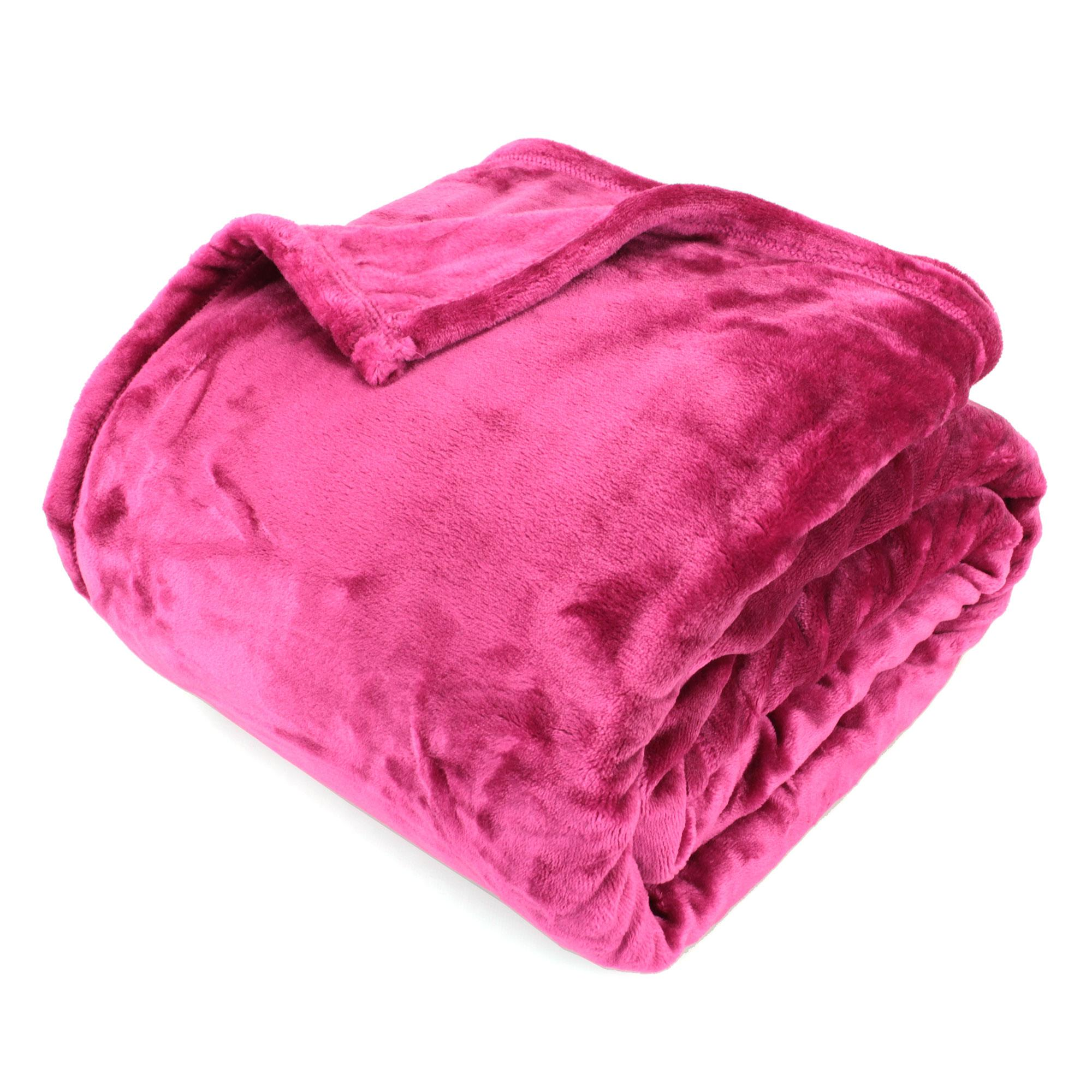 couverture microfibre 180x240 cm velvet framboise linnea vente de linge de maison. Black Bedroom Furniture Sets. Home Design Ideas