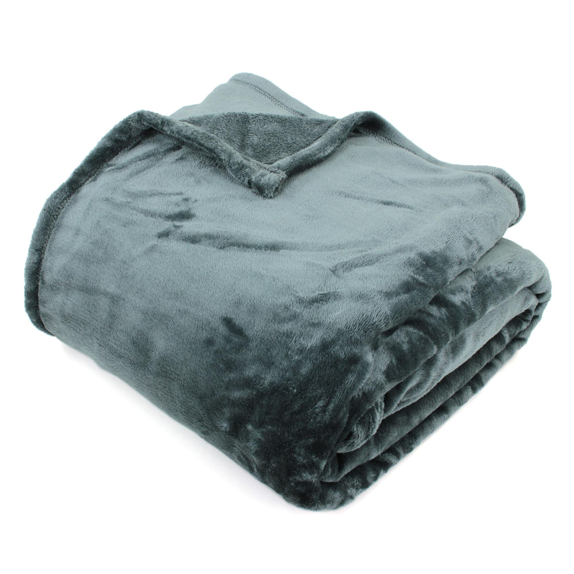 couverture polaire 240x260 microfibre velvet gris acier ebay. Black Bedroom Furniture Sets. Home Design Ideas