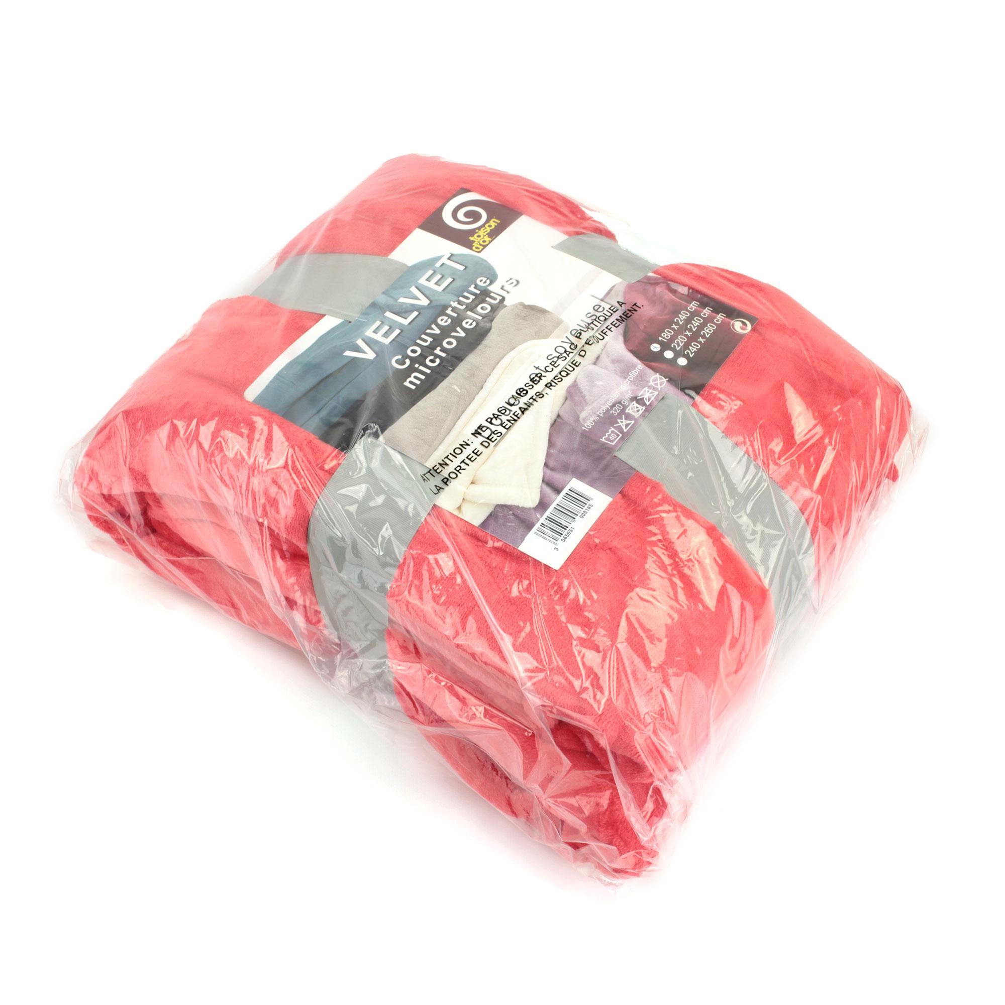 couverture microfibre 240x260 cm velvet corail linnea linge de maison et. Black Bedroom Furniture Sets. Home Design Ideas