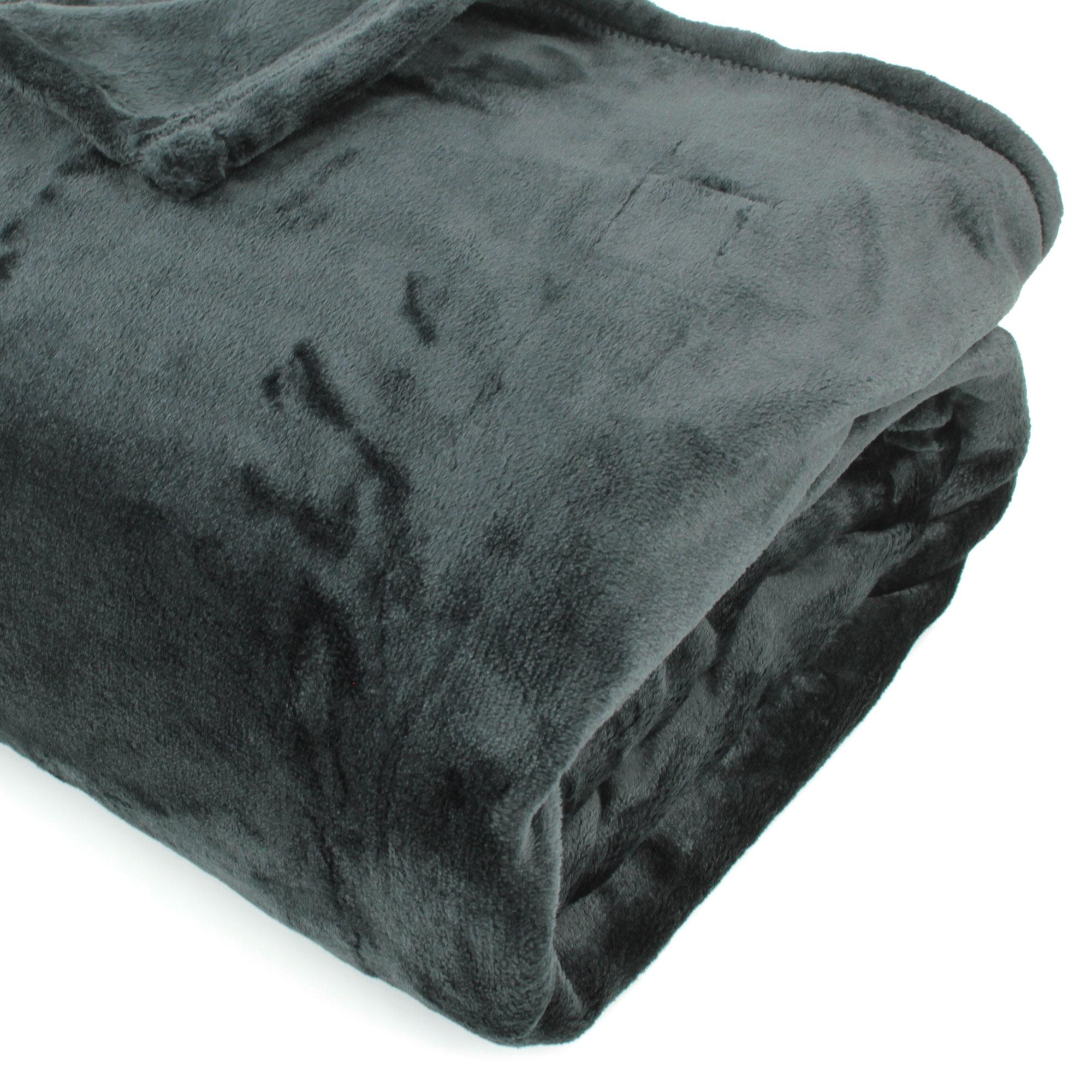 couverture polaire 240x260 microfibre velvet noir ebay. Black Bedroom Furniture Sets. Home Design Ideas