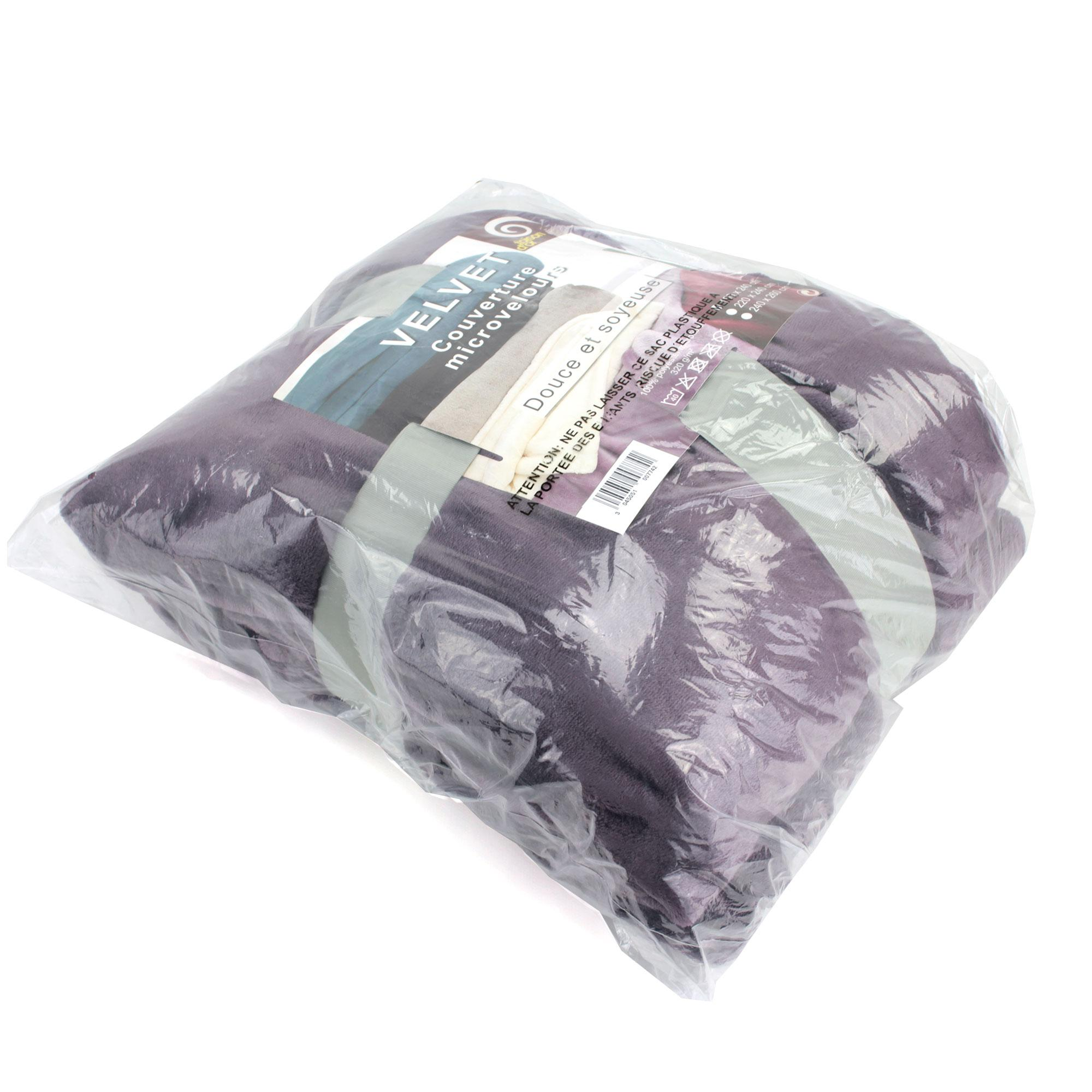 couverture polaire 240x260 microfibre velvet violet prune ebay. Black Bedroom Furniture Sets. Home Design Ideas