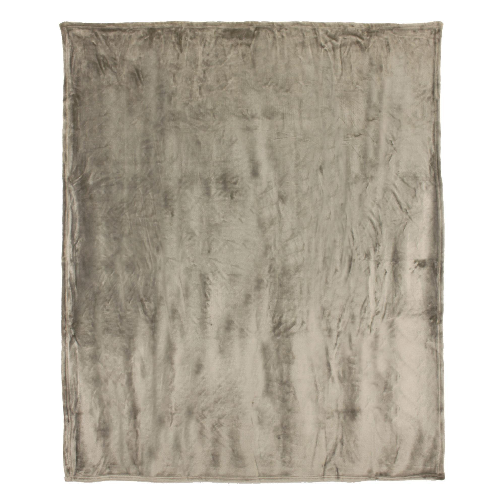 couverture microfibre 240x260 cm velvet taupe linnea linge de maison et. Black Bedroom Furniture Sets. Home Design Ideas
