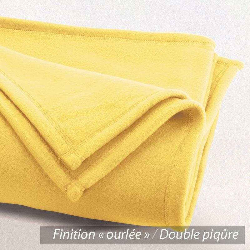 couverture polaire 180x220 cm isba jaune pollen 100 polyester 320 g m2 trait non feu. Black Bedroom Furniture Sets. Home Design Ideas
