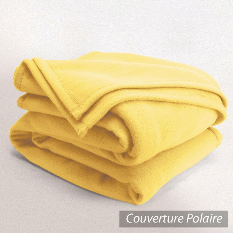 couverture polaire 220x240 cm isba jaune pollen 100 polyester 320 g m2 trait non feu. Black Bedroom Furniture Sets. Home Design Ideas