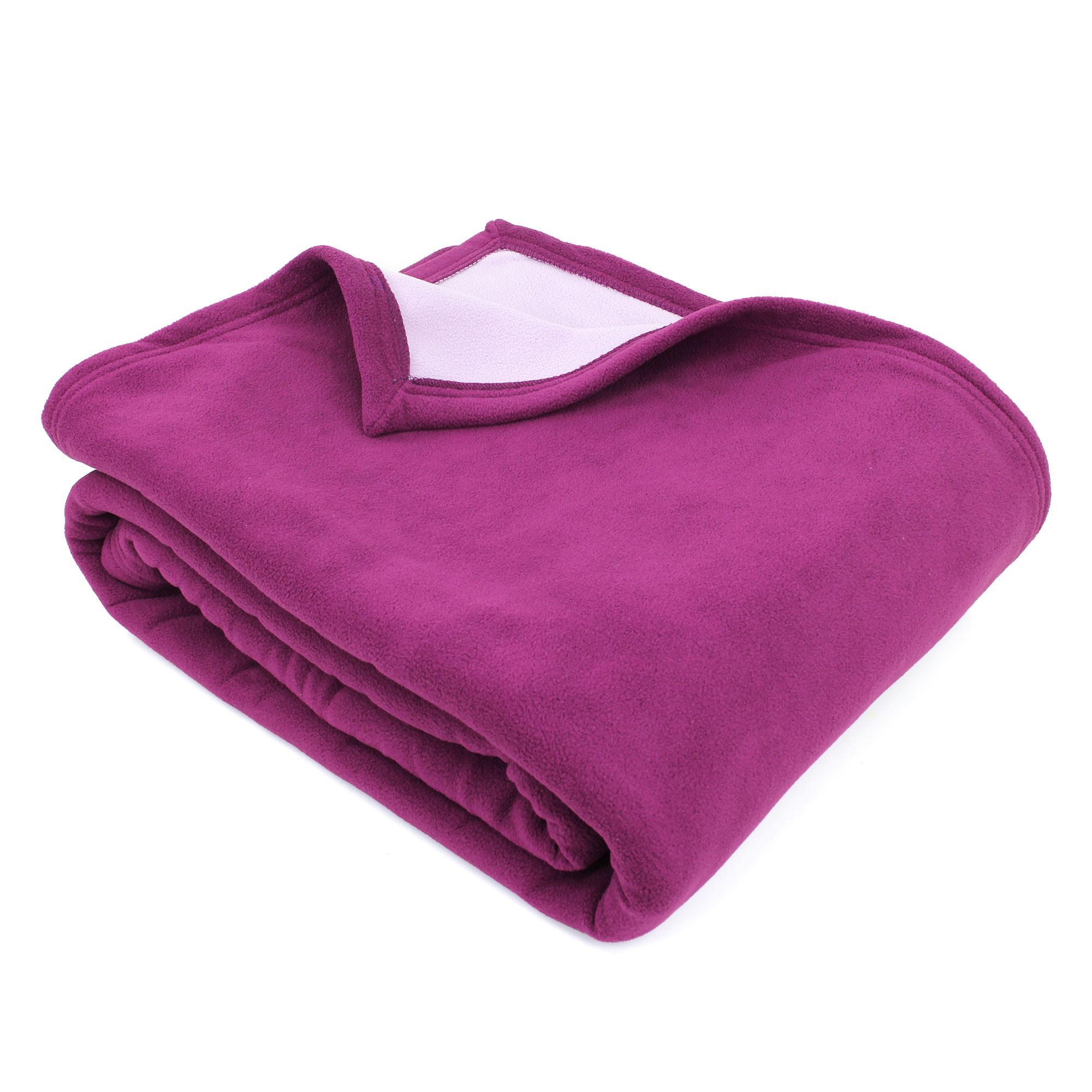 couverture polaire 220x240 cm narvik prune linnea linge de maison et. Black Bedroom Furniture Sets. Home Design Ideas