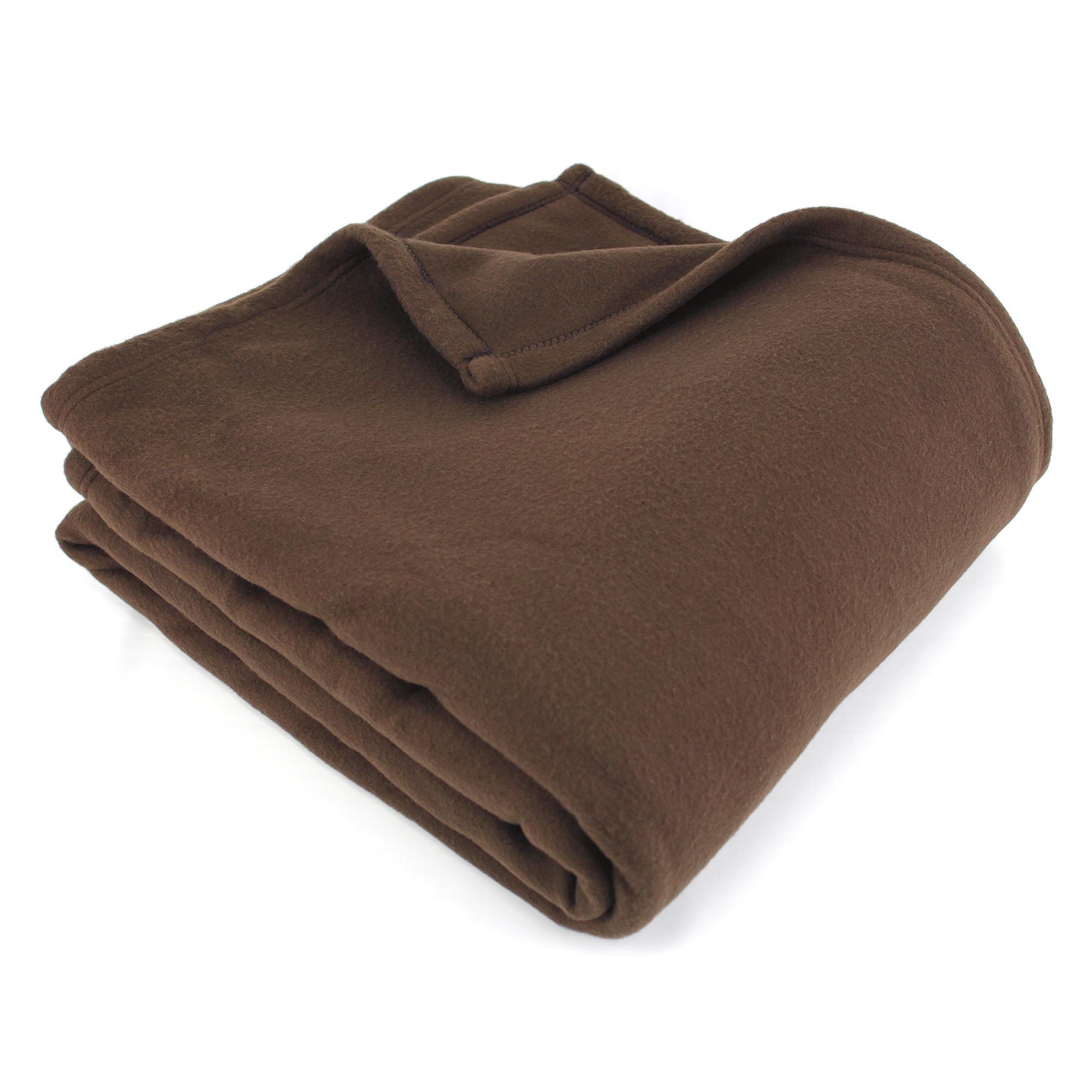 couverture polaire polyester 220x240 cm teddy chocolat linnea linge de maison et. Black Bedroom Furniture Sets. Home Design Ideas