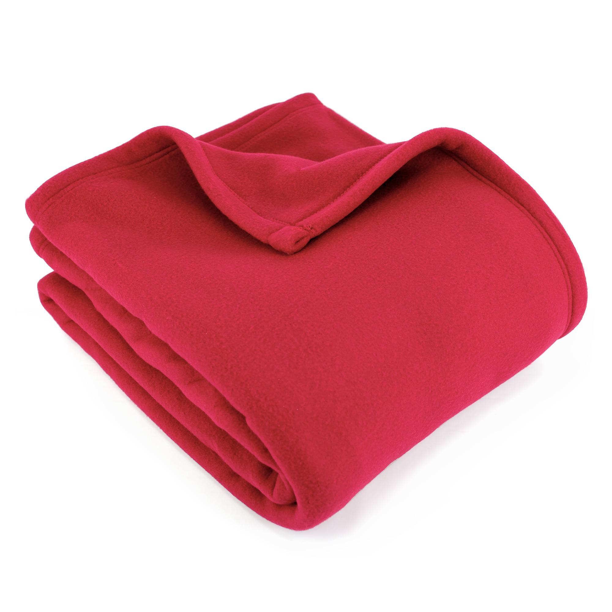 Couverture-polaire-220x240-cm-100-Polyester-350g-m2-TEDDY-Rouge-Framboise