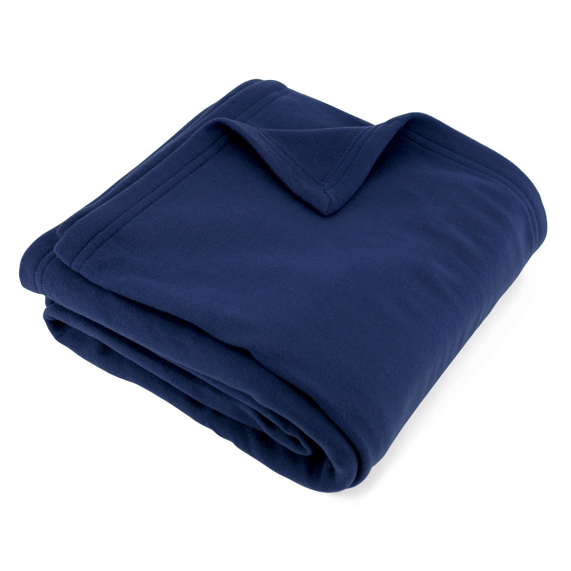 couverture polaire polyester 220x240 cm teddy marine linnea linge de maison et. Black Bedroom Furniture Sets. Home Design Ideas