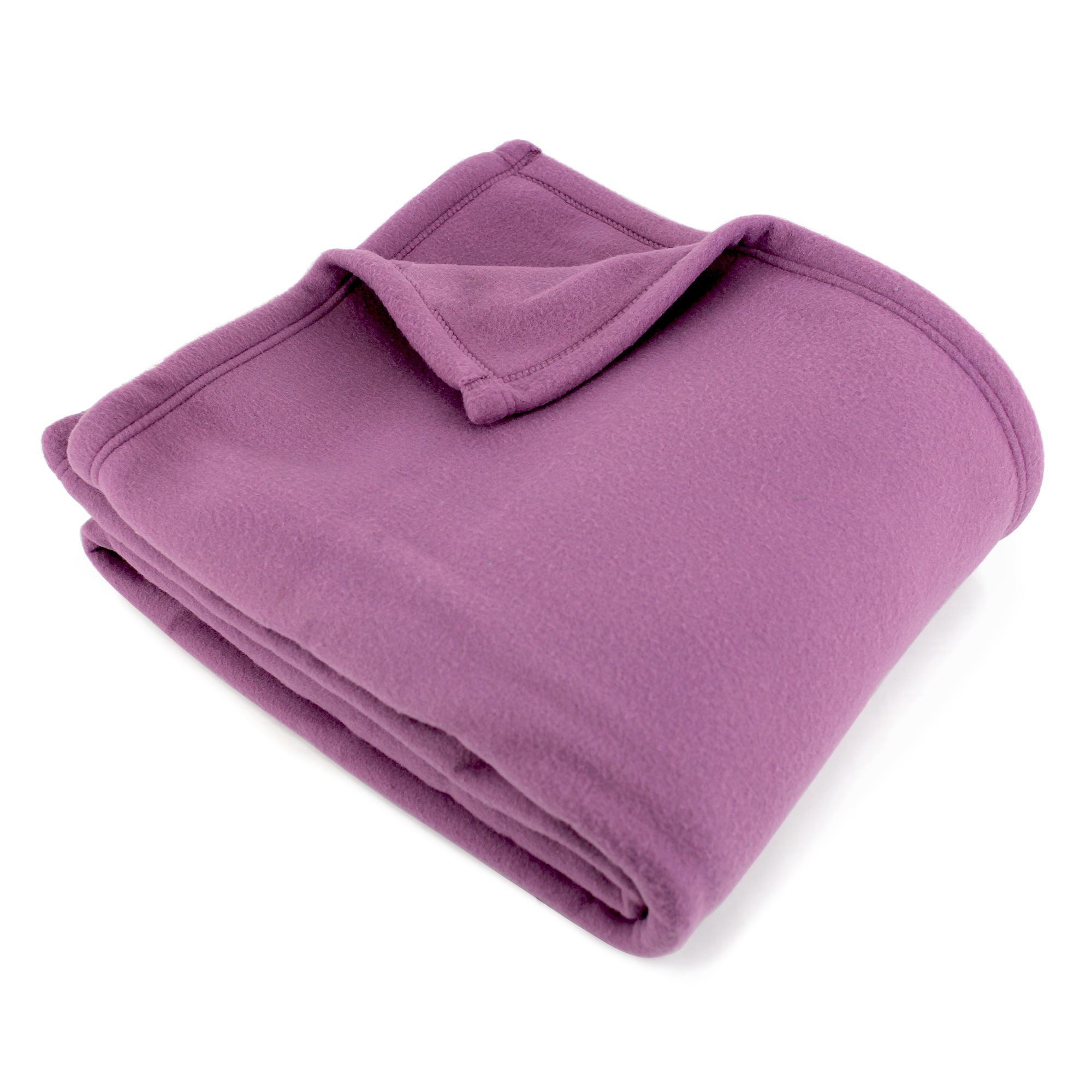 couverture polaire polyester 240x260 cm teddy mauve linnea linge de maison et. Black Bedroom Furniture Sets. Home Design Ideas