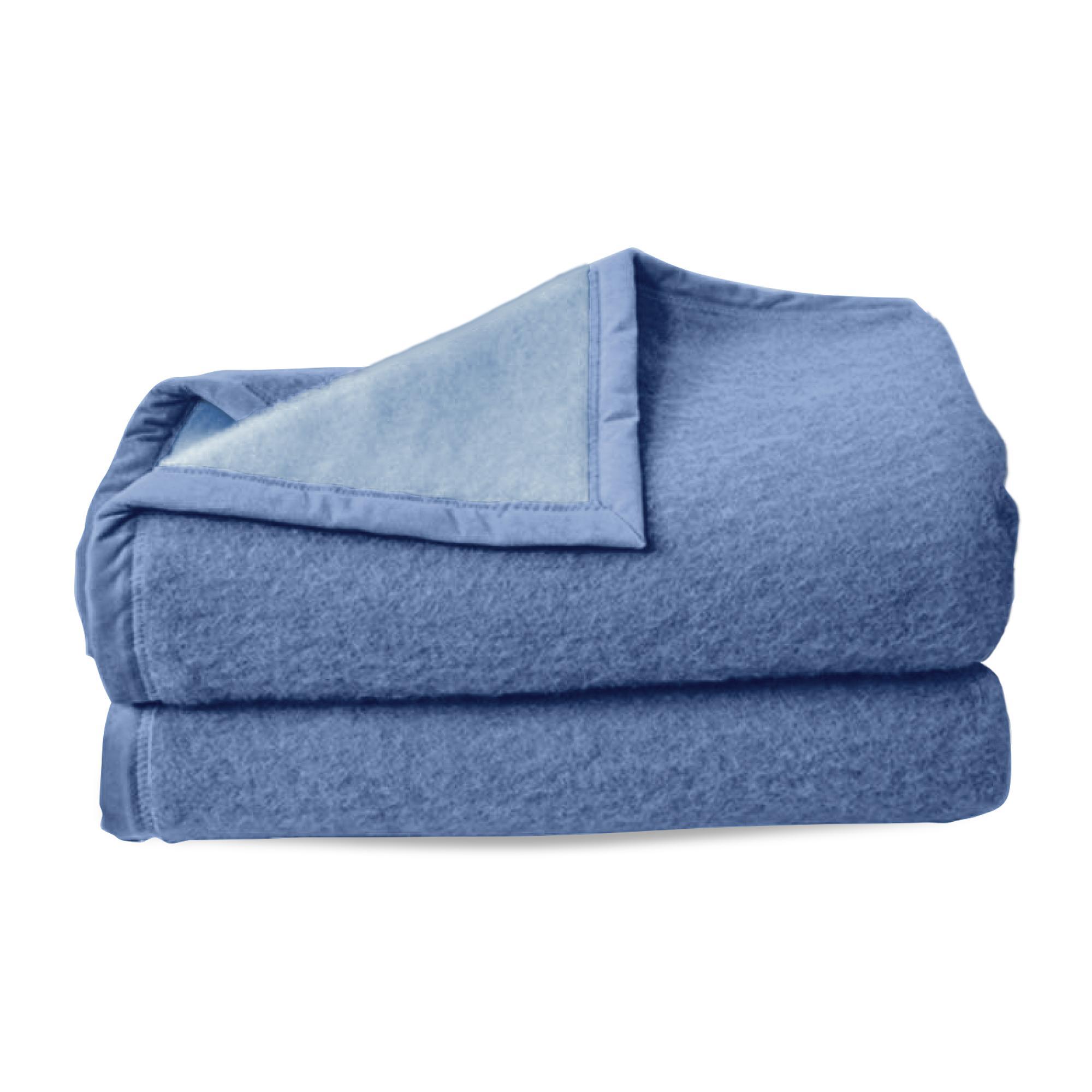 couverture pure laine vierge woolmark 600g m cybele 220x240cm bleu azur linnea linge de. Black Bedroom Furniture Sets. Home Design Ideas