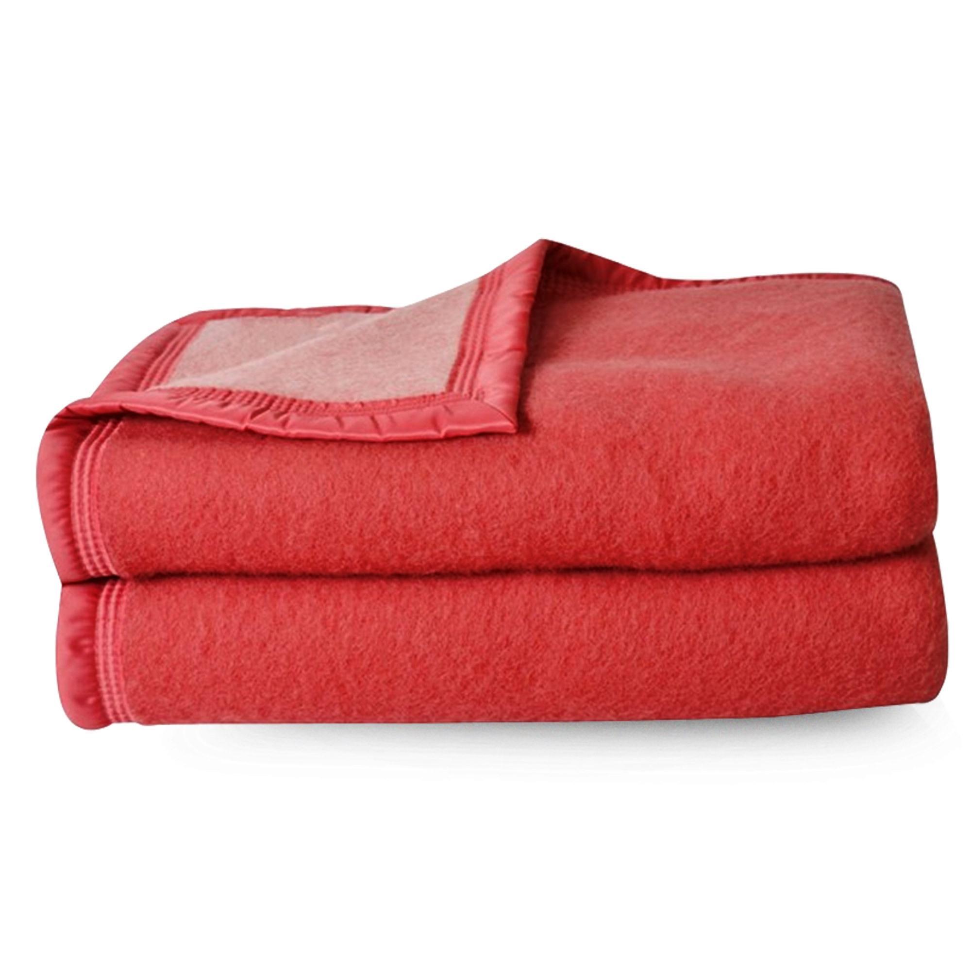 couverture pure laine vierge woolmark 500g m volta 220x240 cm rouge bois de rose linnea. Black Bedroom Furniture Sets. Home Design Ideas