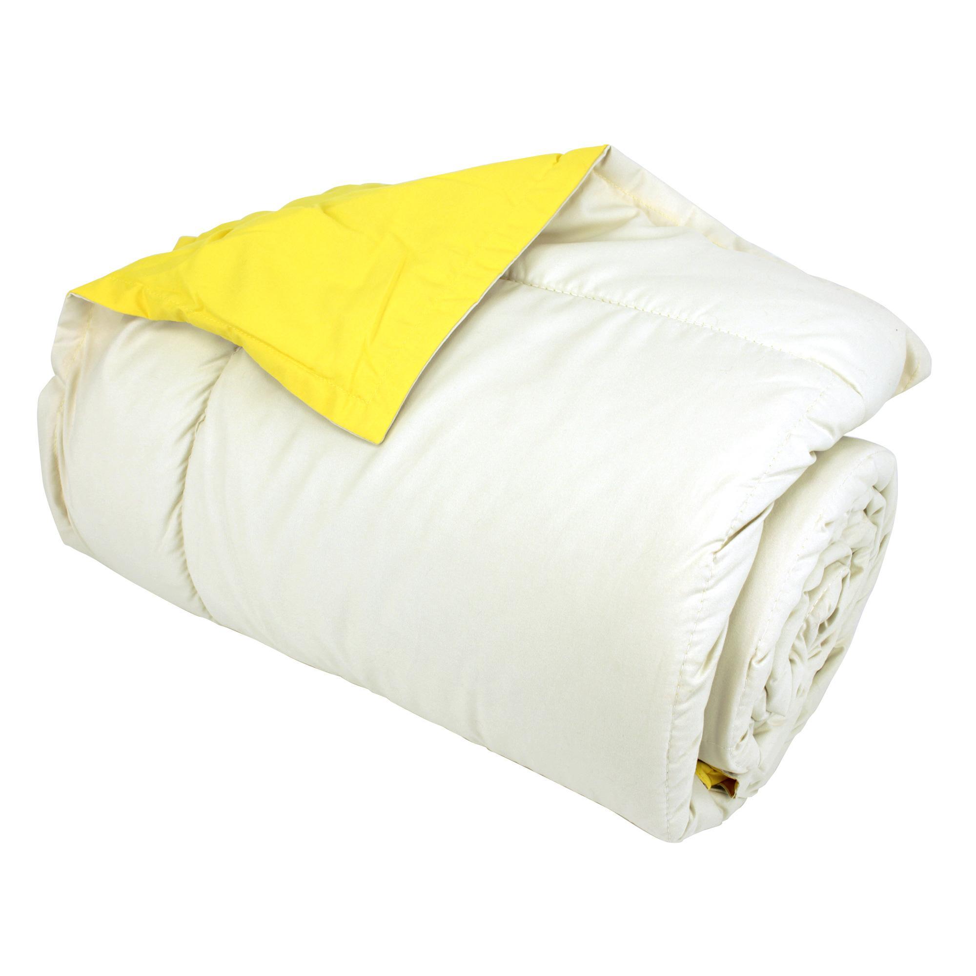 dessus de lit 160x240 microfibre frisbee bicolore blanc cr me jaune ebay. Black Bedroom Furniture Sets. Home Design Ideas