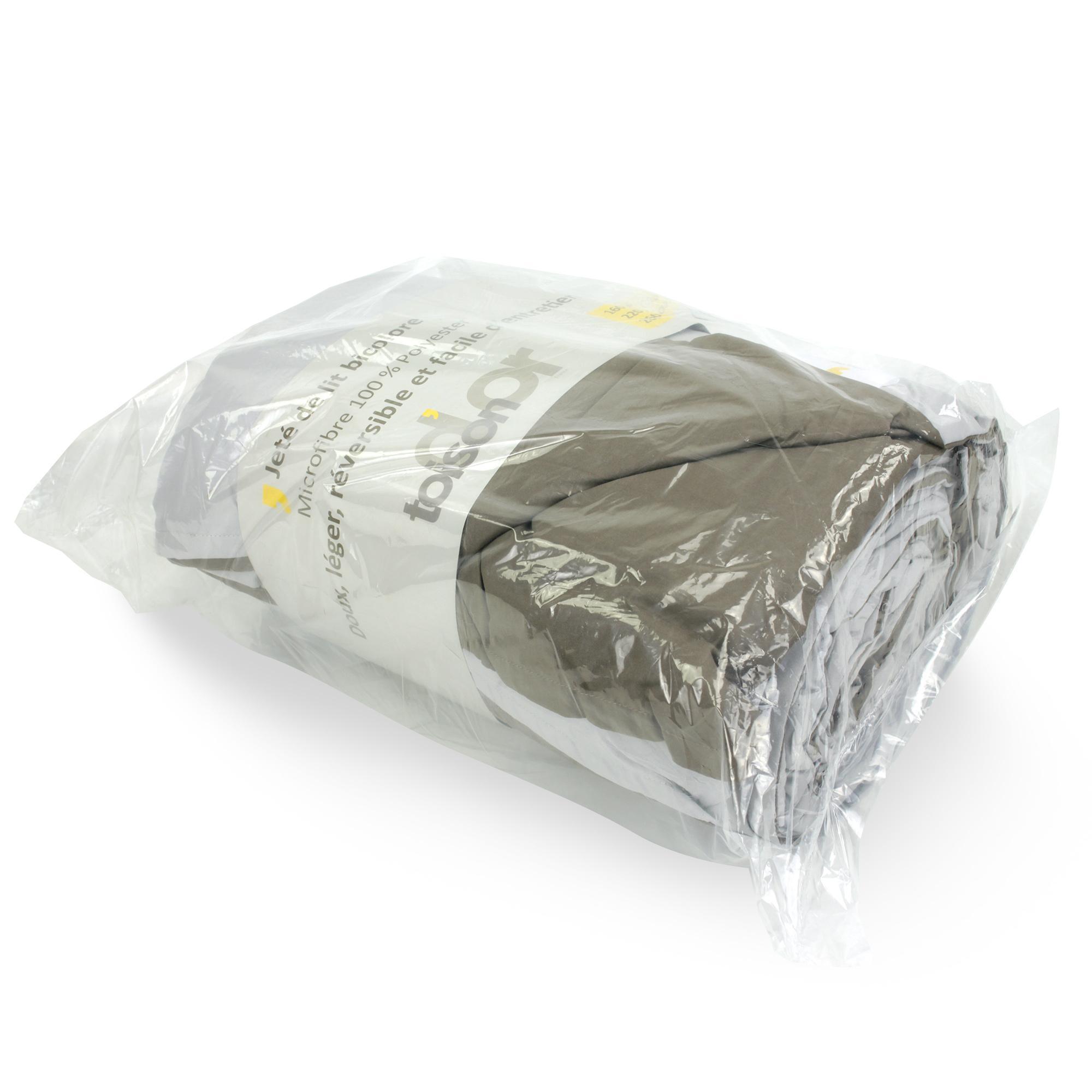 dessus de lit bicolore frisbee 220x240 cm perle taupe linnea vente de linge de maison. Black Bedroom Furniture Sets. Home Design Ideas