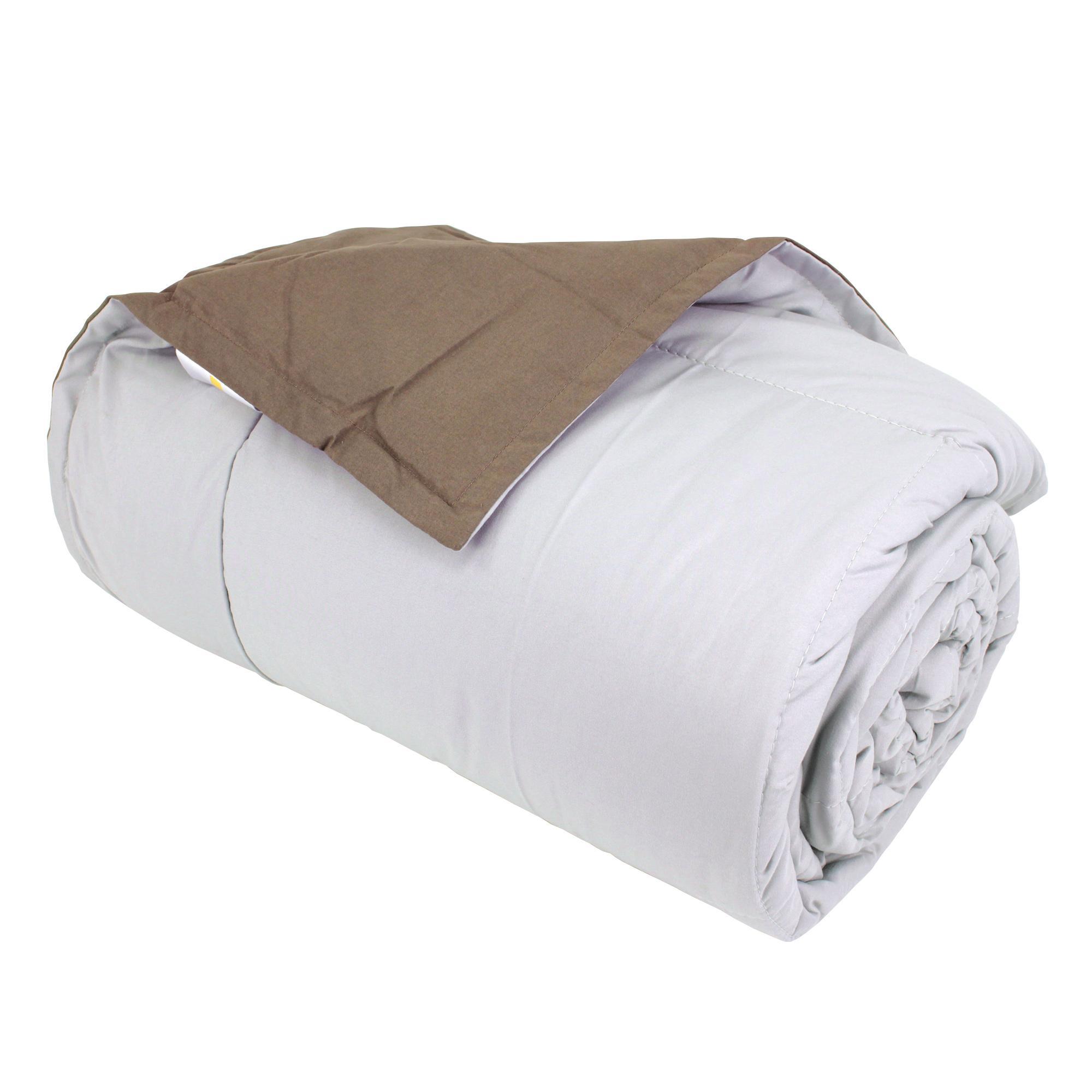 dessus de lit bicolore frisbee 240x260 cm perle taupe linnea vente de linge de maison. Black Bedroom Furniture Sets. Home Design Ideas