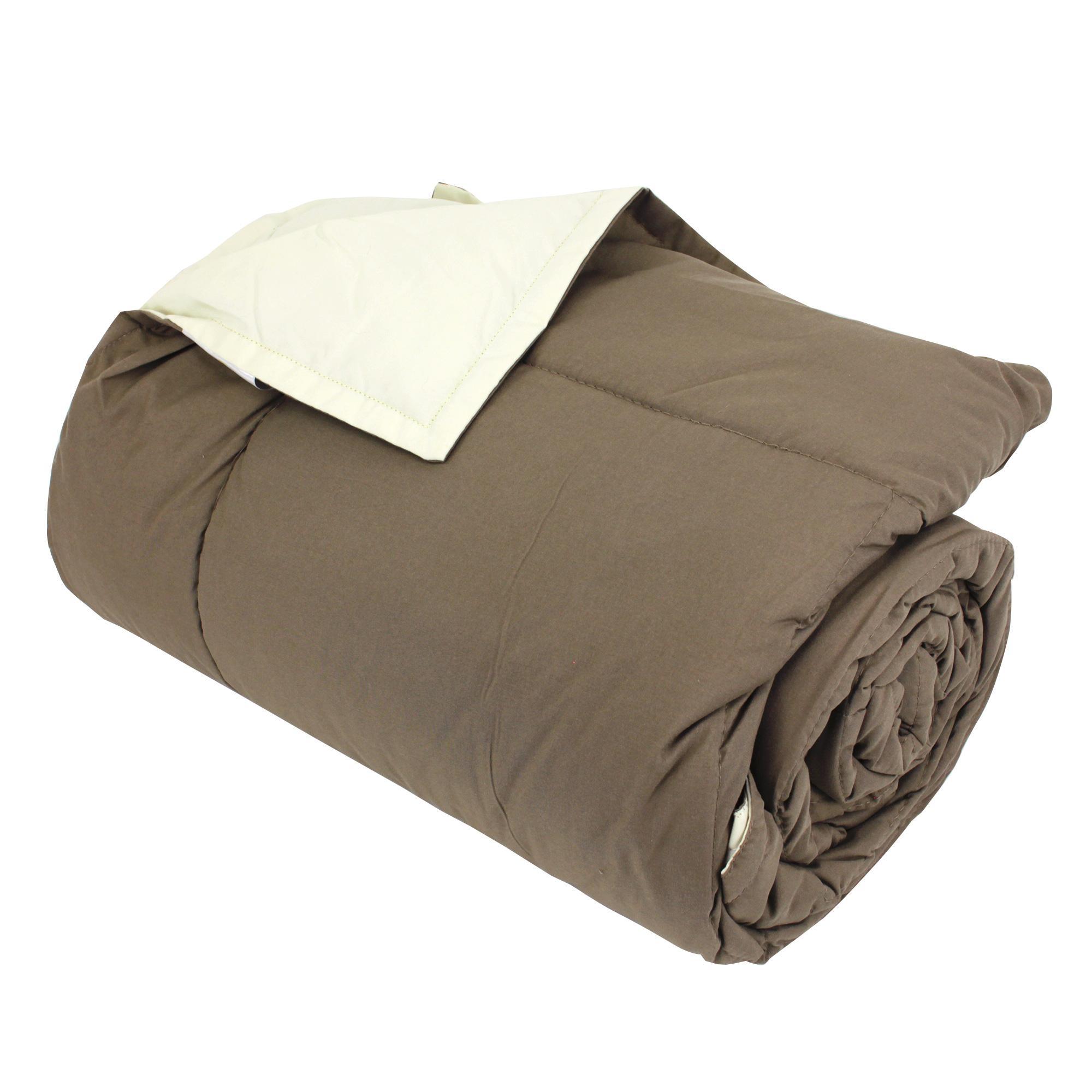 dessus de lit bicolore frisbee 240x260 cm taupe cr me linnea vente de linge de maison. Black Bedroom Furniture Sets. Home Design Ideas