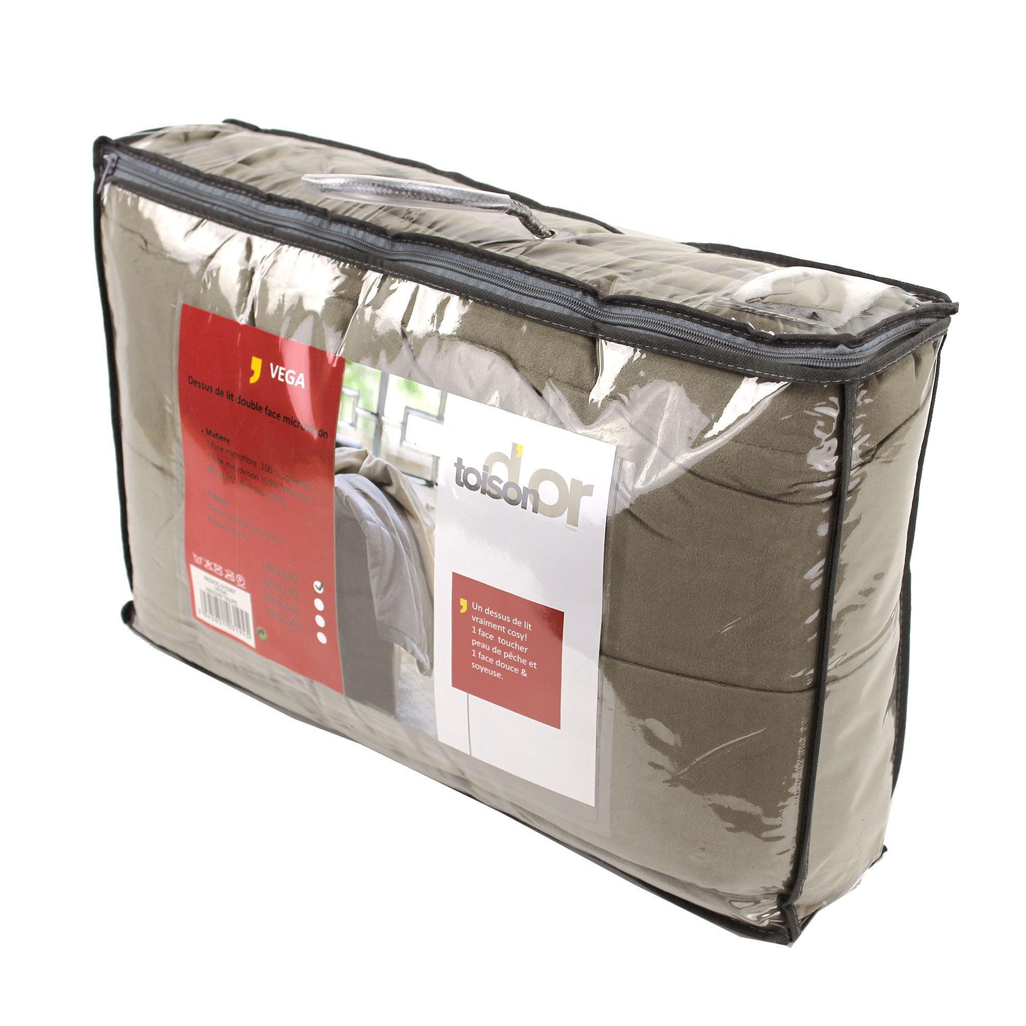dessus de lit 220x240 cm polyester vega taupe linnea vente de linge de maison. Black Bedroom Furniture Sets. Home Design Ideas