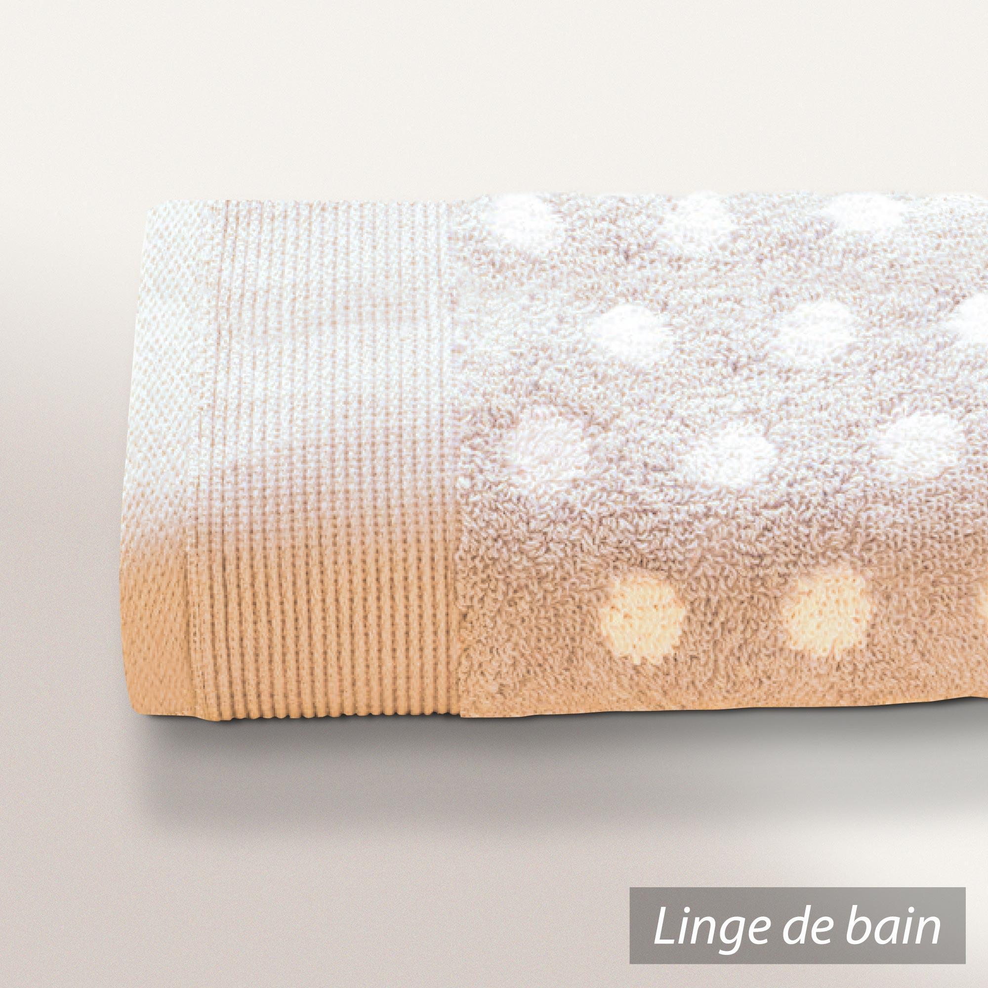 drap de bain 100x150cm uni coton domino beige linnea. Black Bedroom Furniture Sets. Home Design Ideas