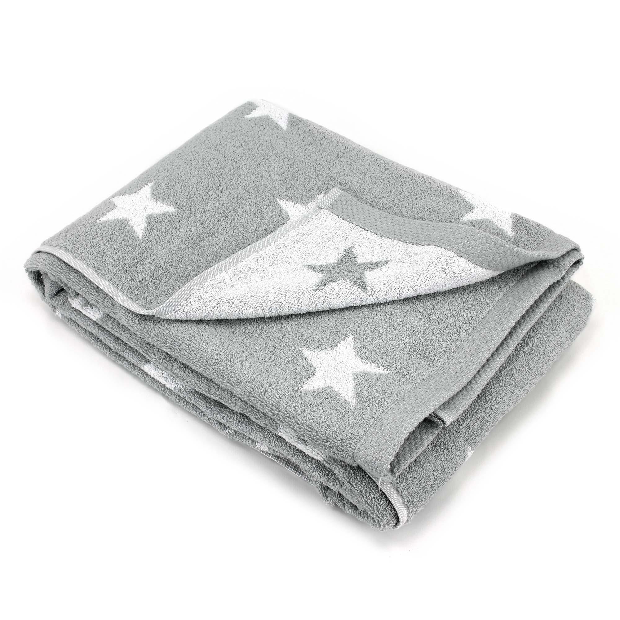 drap de bain 100x150 cm coton stars gris linnea linge de maison et. Black Bedroom Furniture Sets. Home Design Ideas