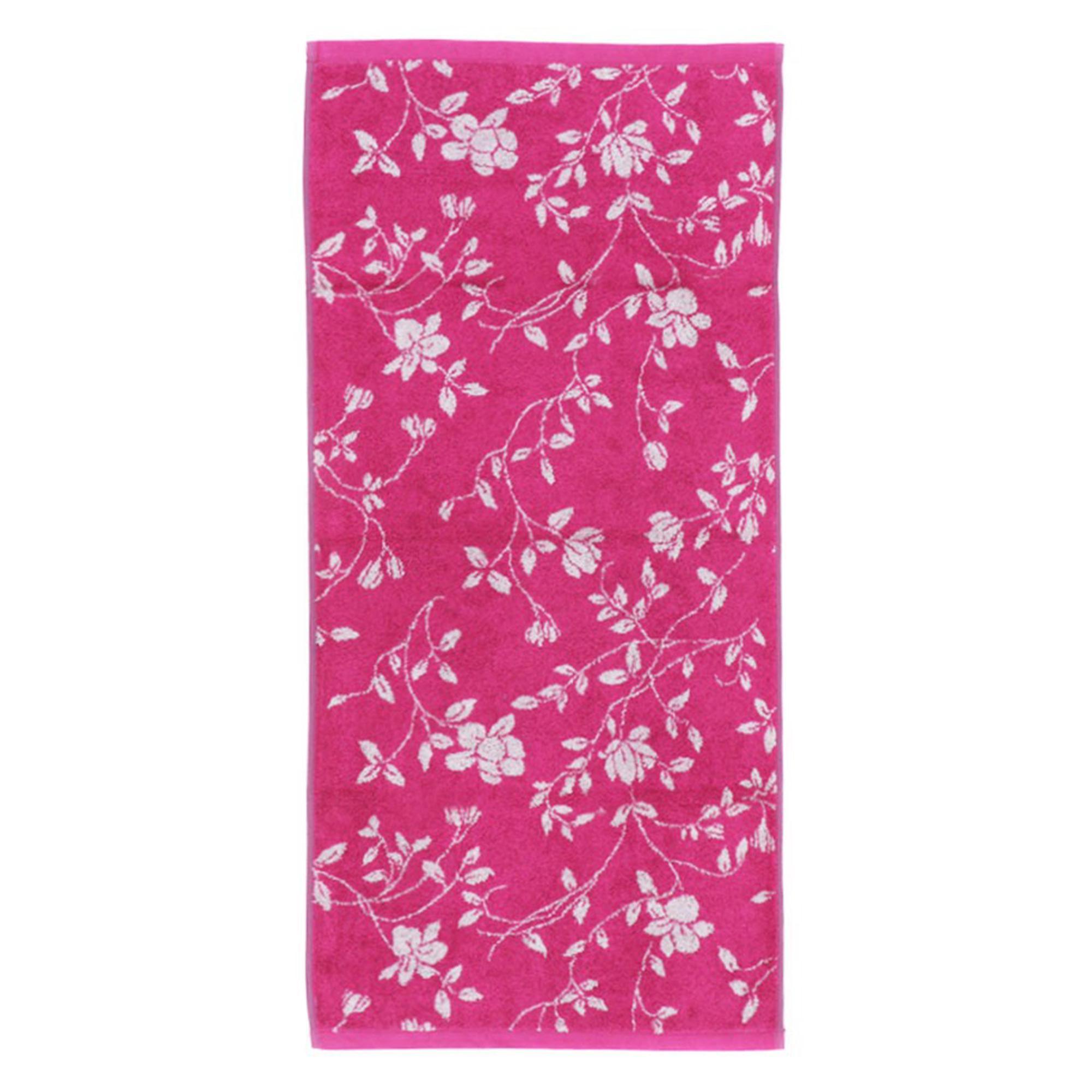 drap de bain 100x150 cm coton floral rose linnea linge de maison et. Black Bedroom Furniture Sets. Home Design Ideas