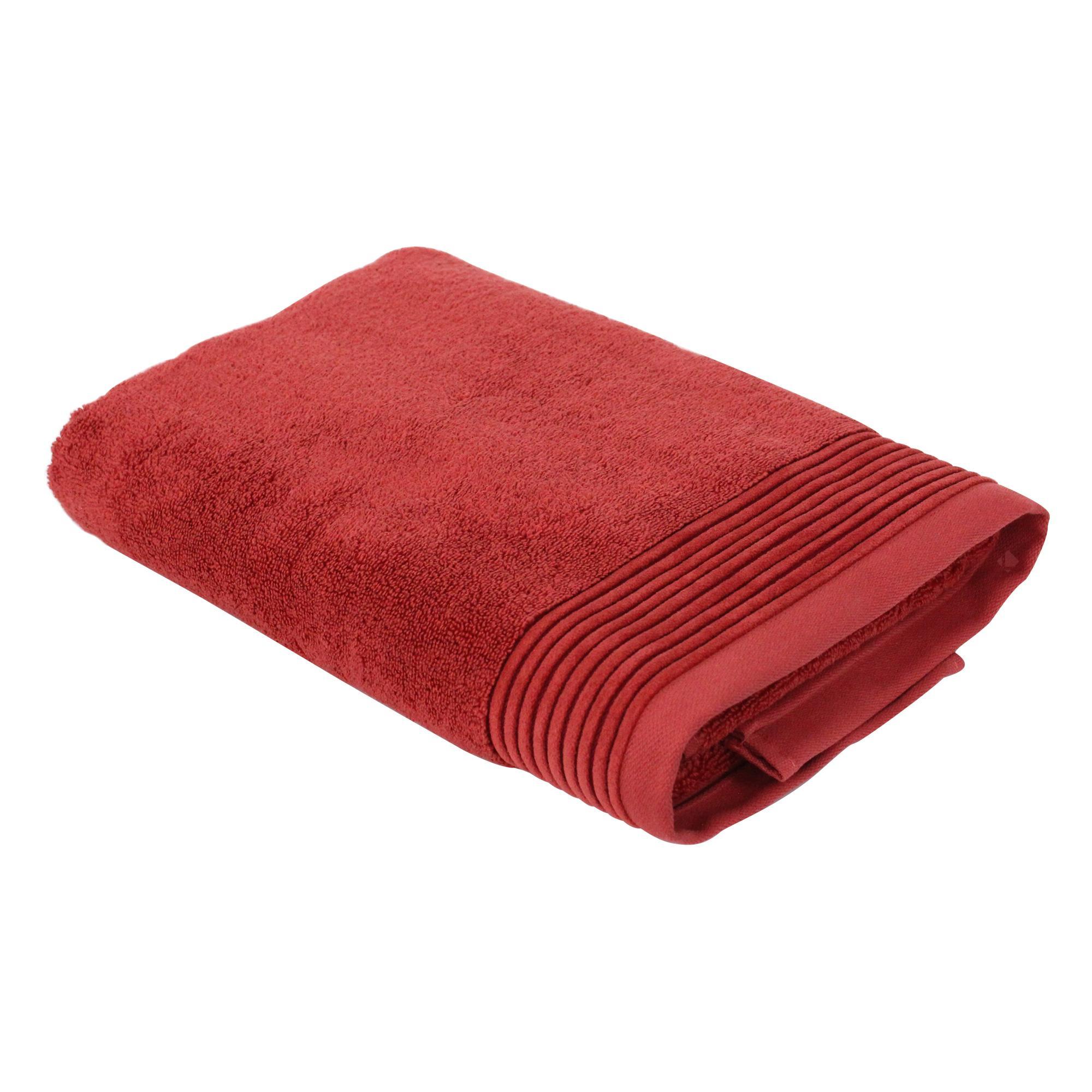 drap de bain 100x150 cm juliet rouge terracota 520 g m2 linnea linge de maison et. Black Bedroom Furniture Sets. Home Design Ideas