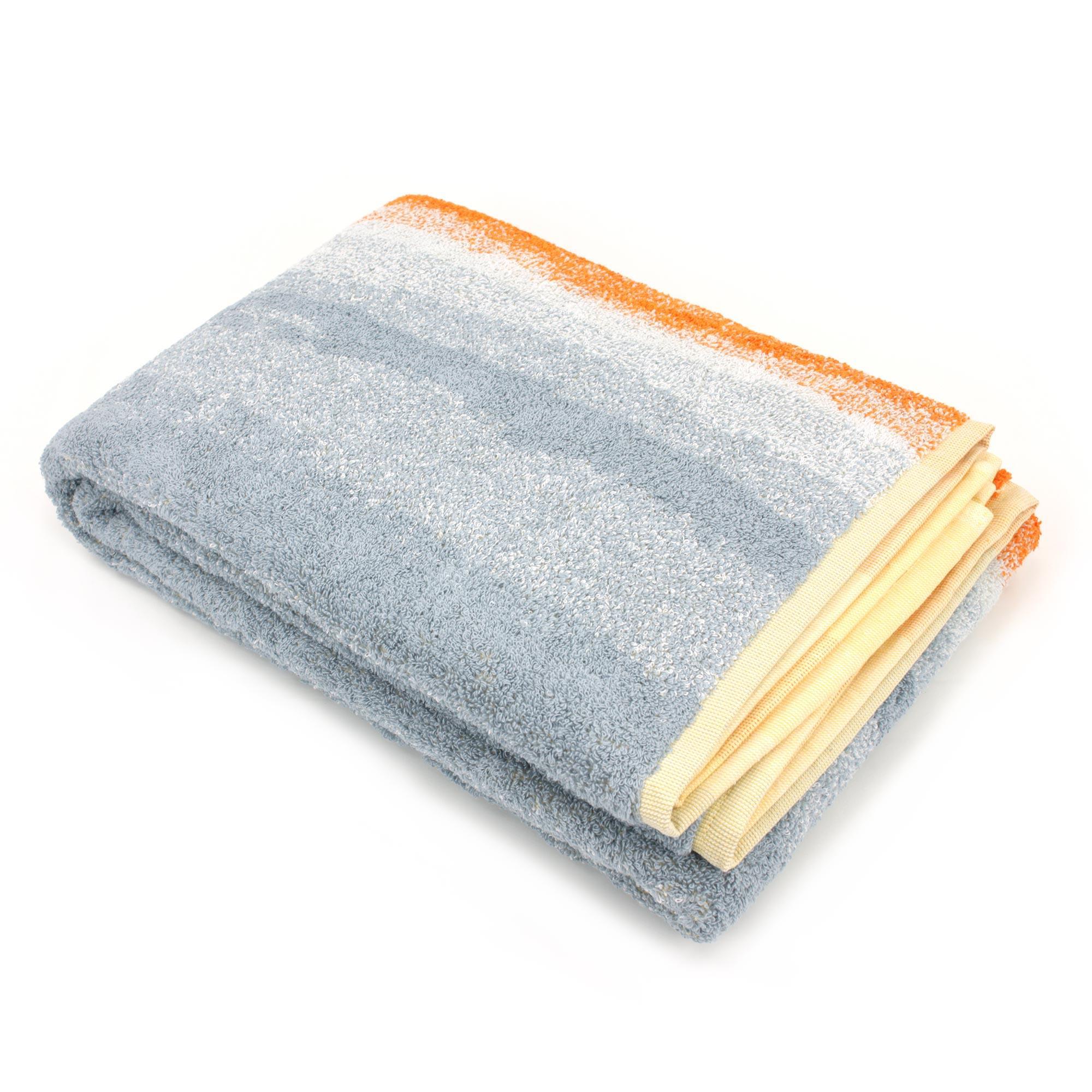 drap de bain 100x150 cm coton kodac rayures jaune gris linnea linge de maison et. Black Bedroom Furniture Sets. Home Design Ideas