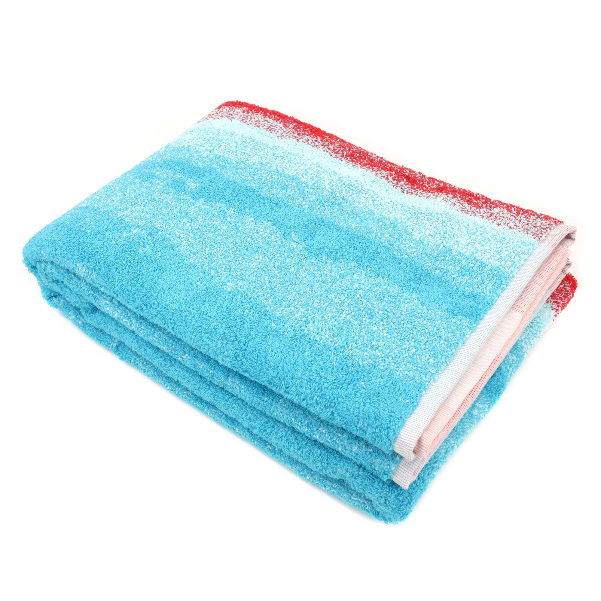 drap de bain 100x150 100 coton 500g m2 kodac rayures rouge bleu ebay. Black Bedroom Furniture Sets. Home Design Ideas