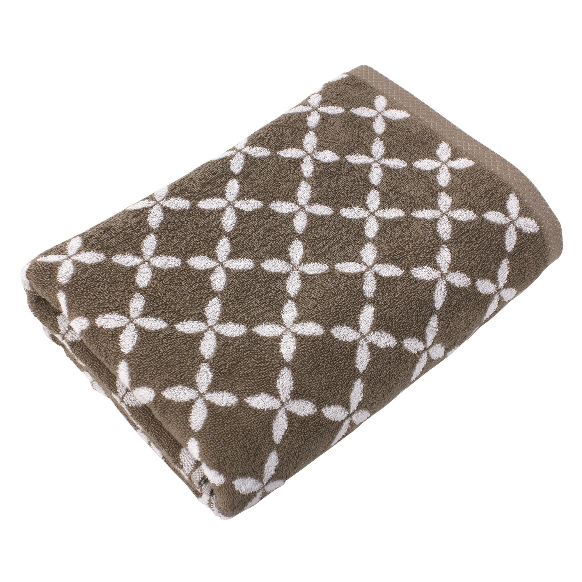 drap de bain 100x150 cm coton shibori floral beige linnea linge de maison et. Black Bedroom Furniture Sets. Home Design Ideas