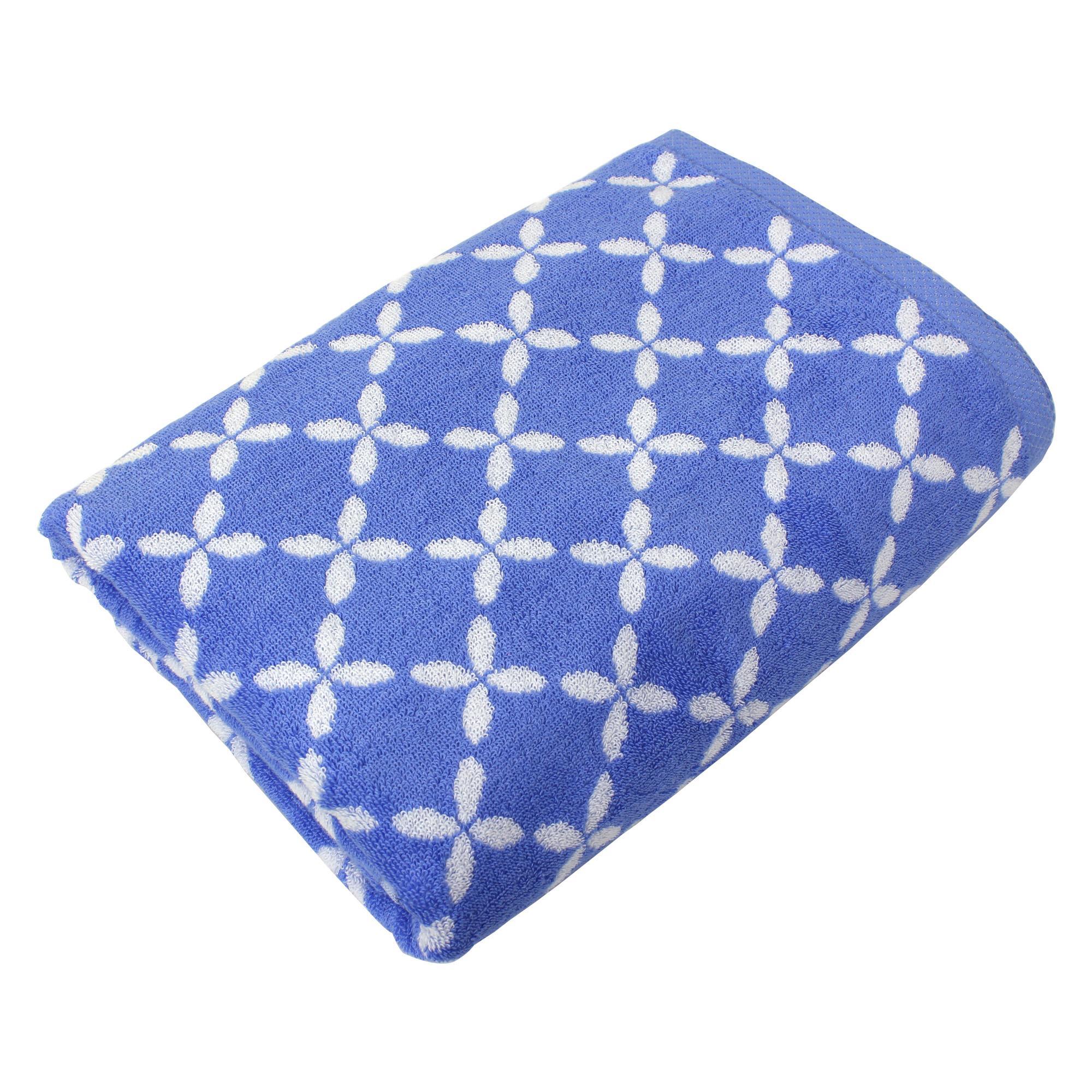 drap de bain 100x150 cm coton shibori floral bleu linnea linge de maison et. Black Bedroom Furniture Sets. Home Design Ideas