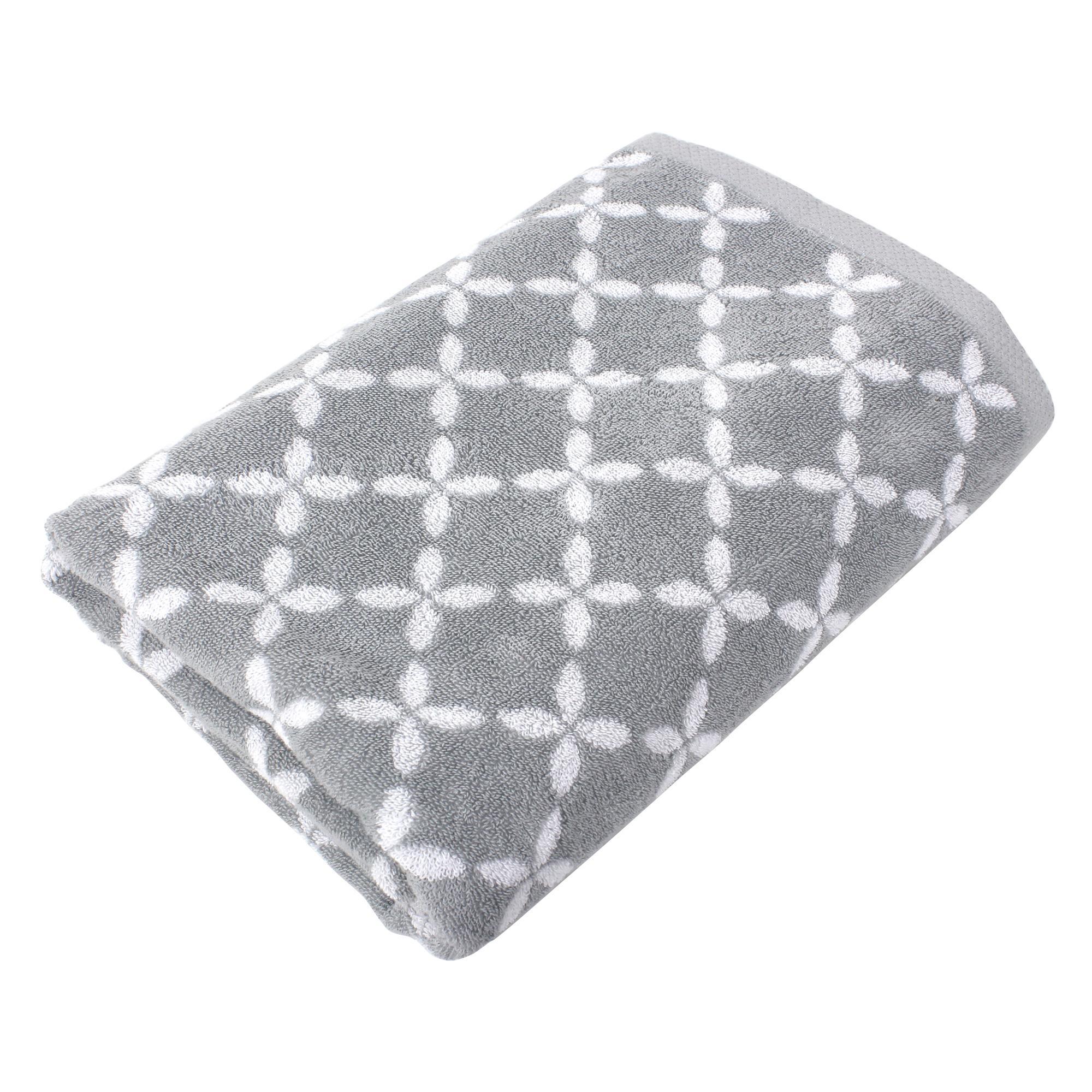 drap de bain 100x150 cm coton shibori floral gris linnea linge de maison et. Black Bedroom Furniture Sets. Home Design Ideas