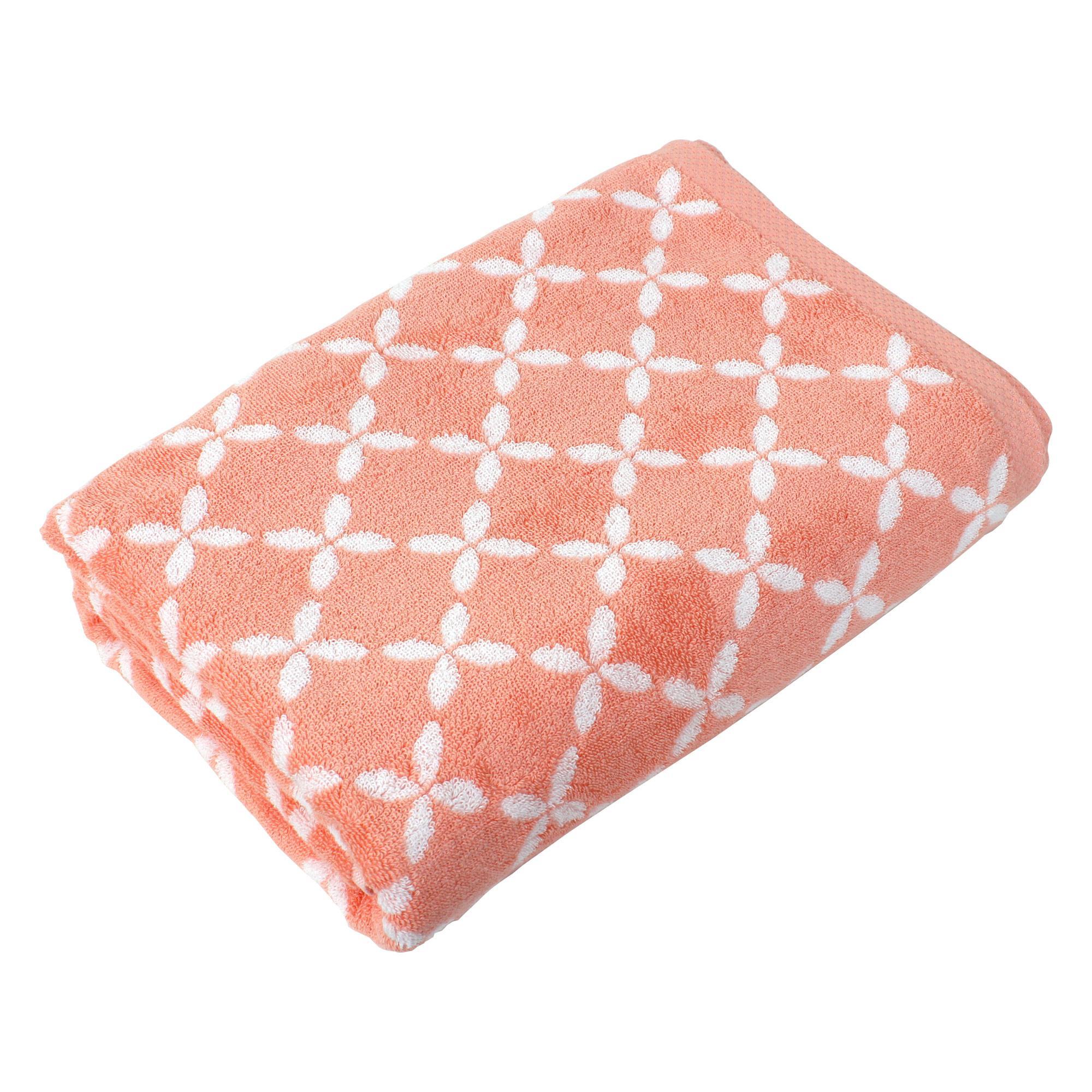 drap de bain 100x150 cm coton shibori floral orange linnea linge de maison et. Black Bedroom Furniture Sets. Home Design Ideas