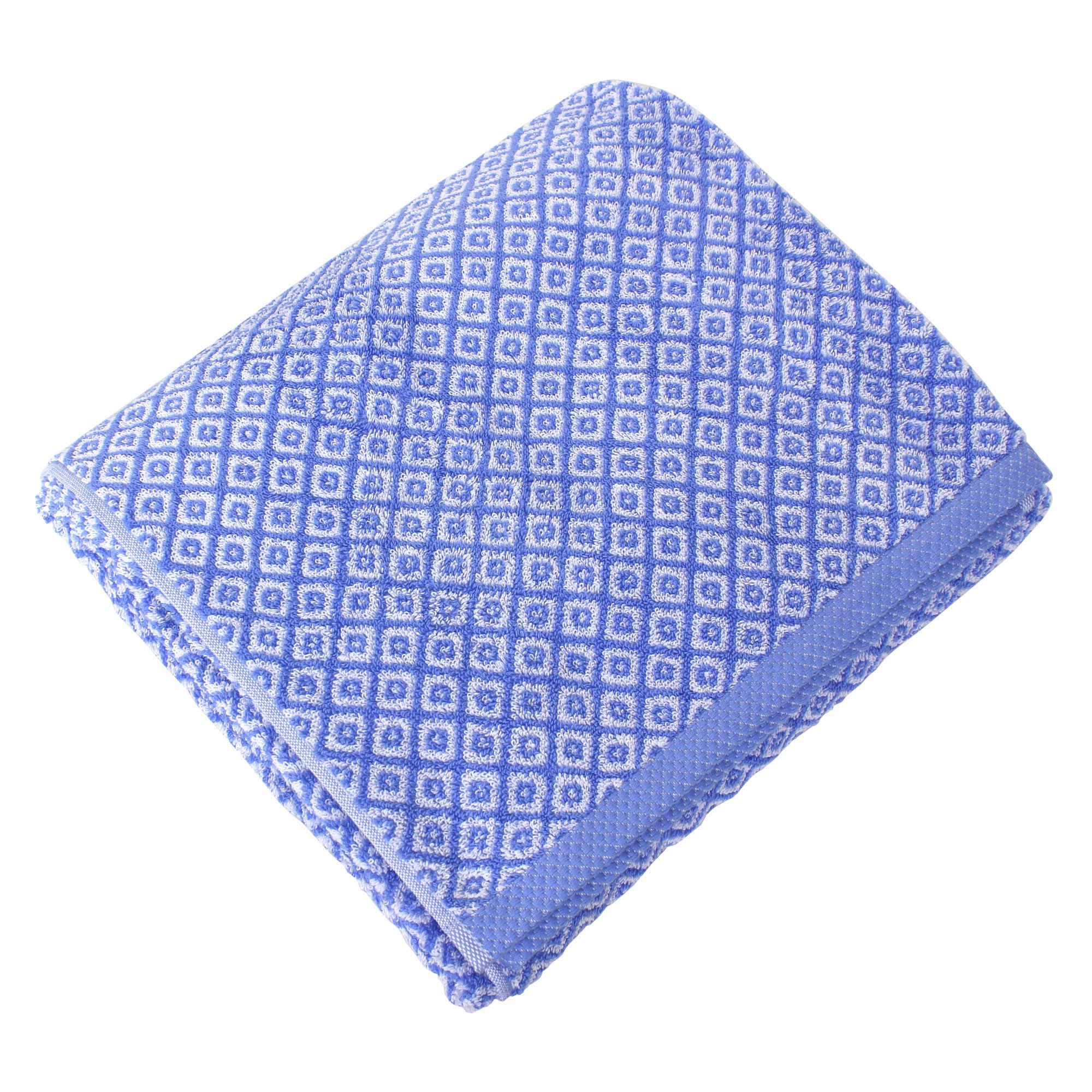 drap de bain 100x150 cm coton shibori mosaic bleu linnea linge de maison et. Black Bedroom Furniture Sets. Home Design Ideas