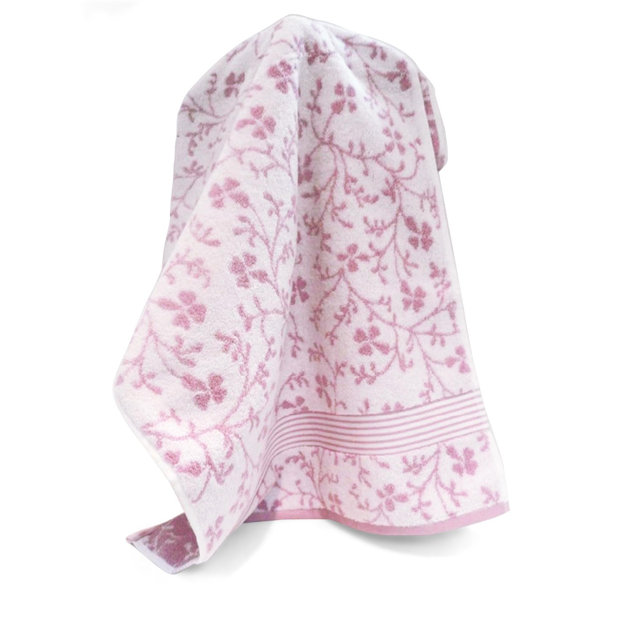 drap de bain 100x150cm uni coton vintage floral rose linnea linge de maison et. Black Bedroom Furniture Sets. Home Design Ideas