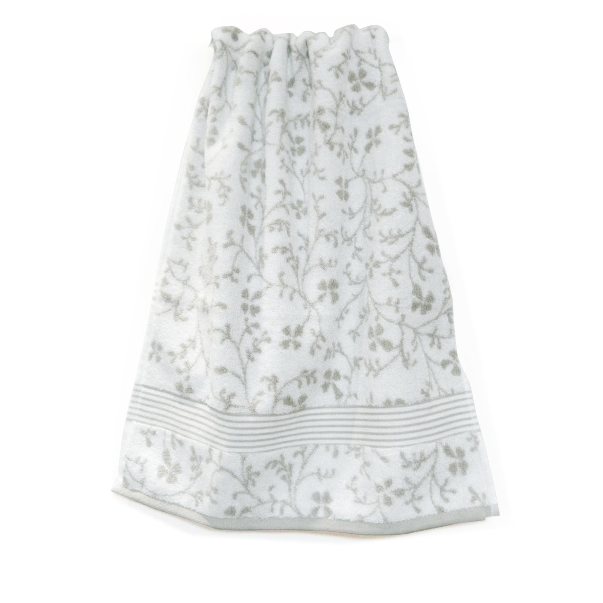 drap de bain 100x150cm uni coton vintage floral vert gris linnea vente de linge de maison. Black Bedroom Furniture Sets. Home Design Ideas